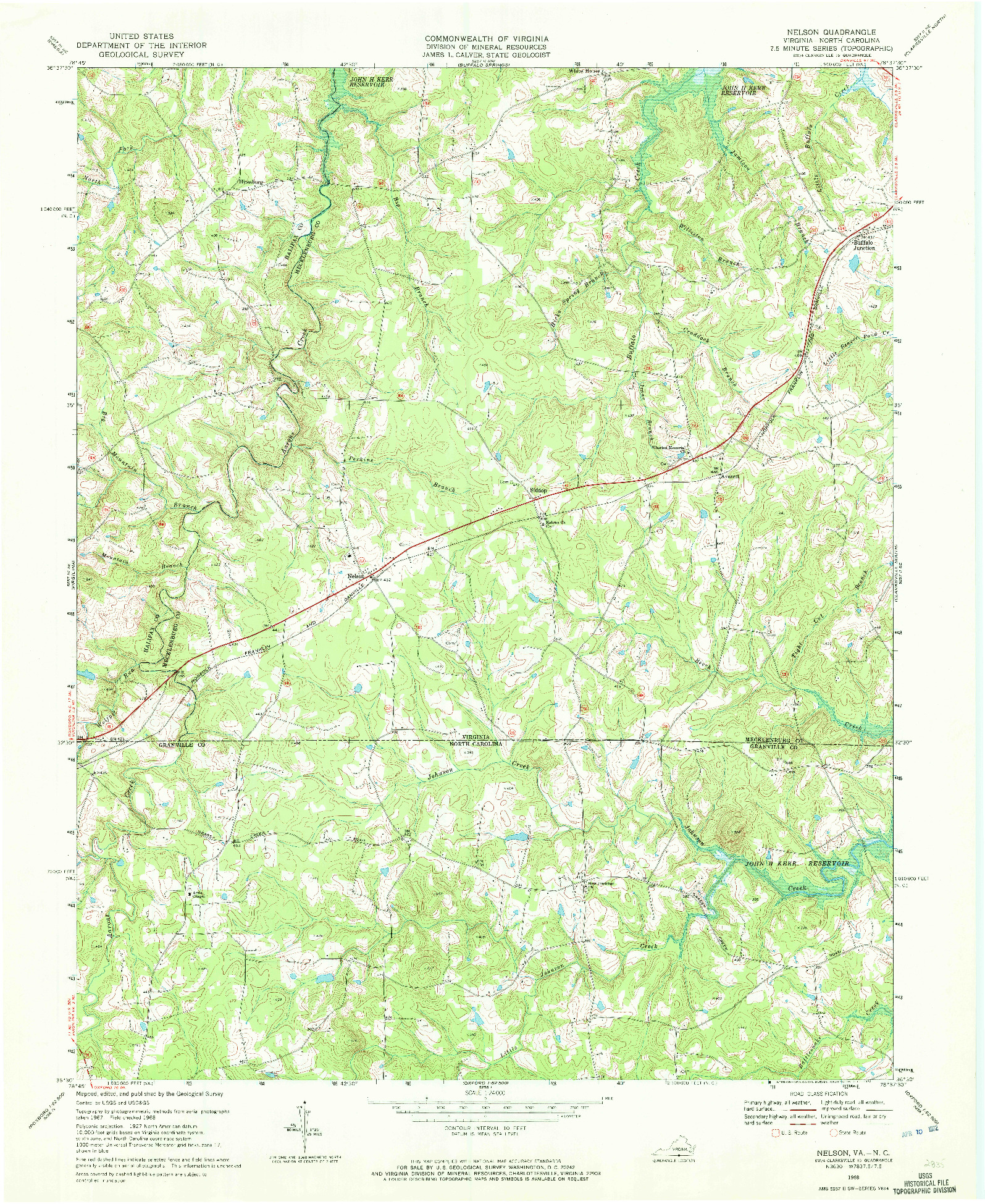 USGS 1:24000-SCALE QUADRANGLE FOR NELSON, VA 1968