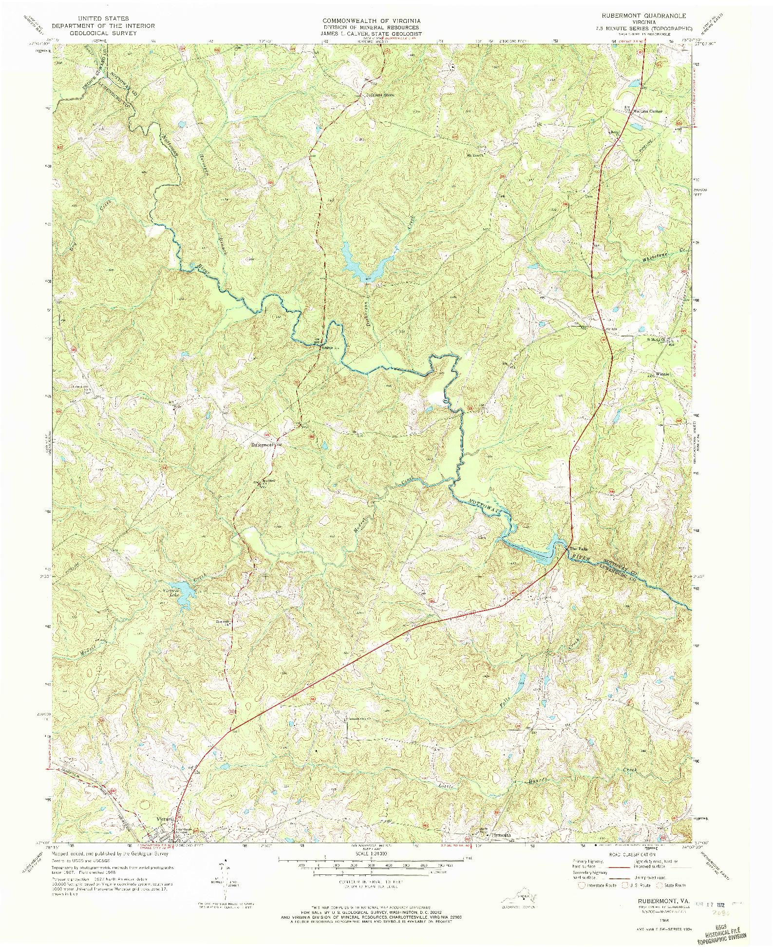 USGS 1:24000-SCALE QUADRANGLE FOR RUBERMONT, VA 1968