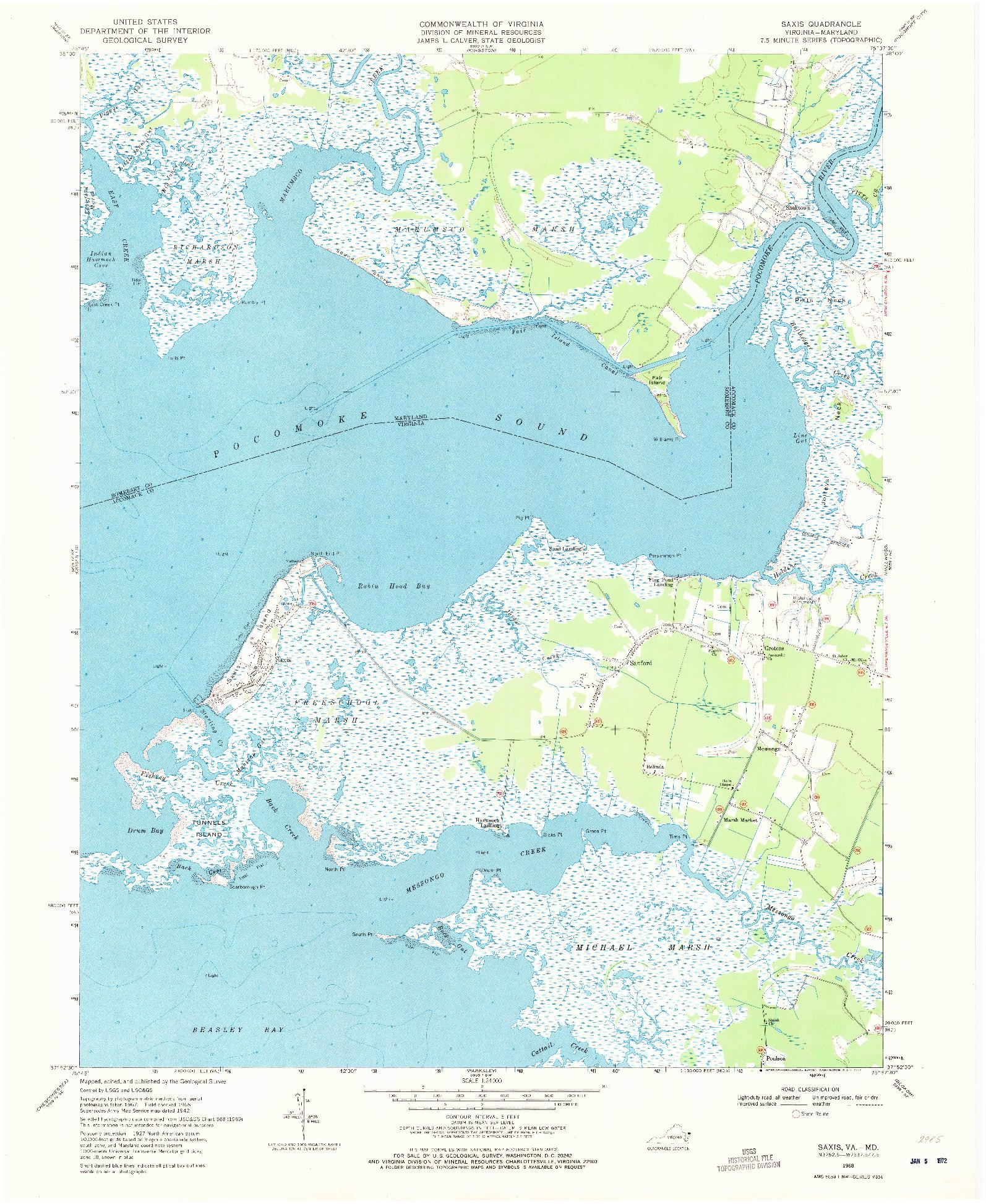 USGS 1:24000-SCALE QUADRANGLE FOR SAXIS, VA 1968