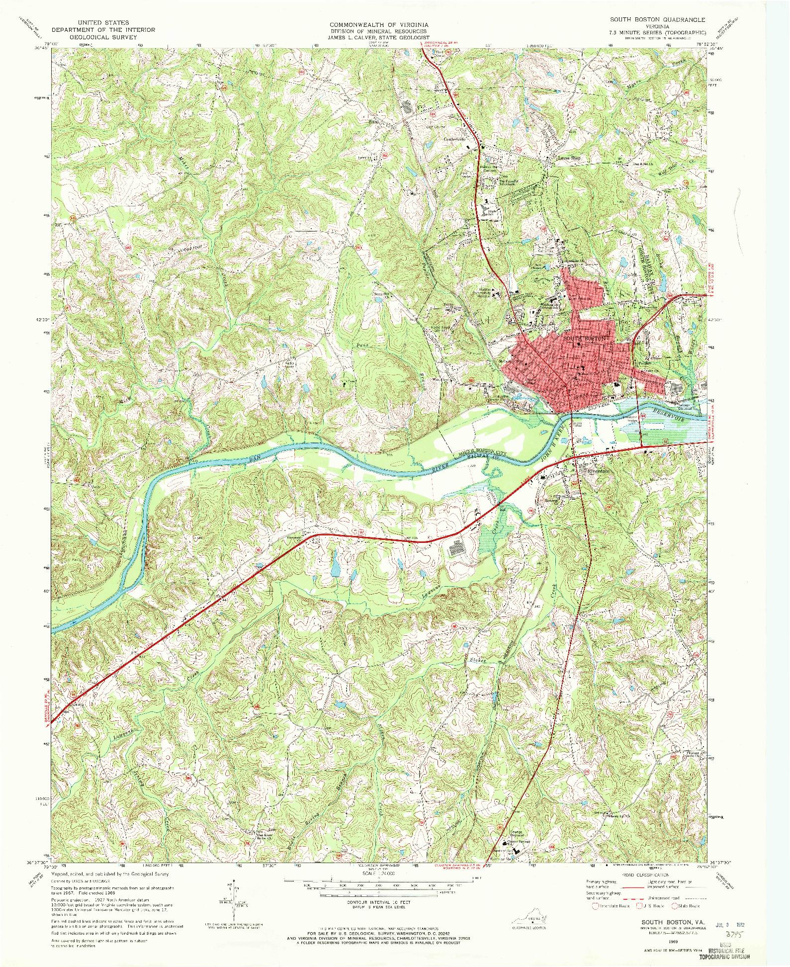 USGS 1:24000-SCALE QUADRANGLE FOR SOUTH BOSTON, VA 1969