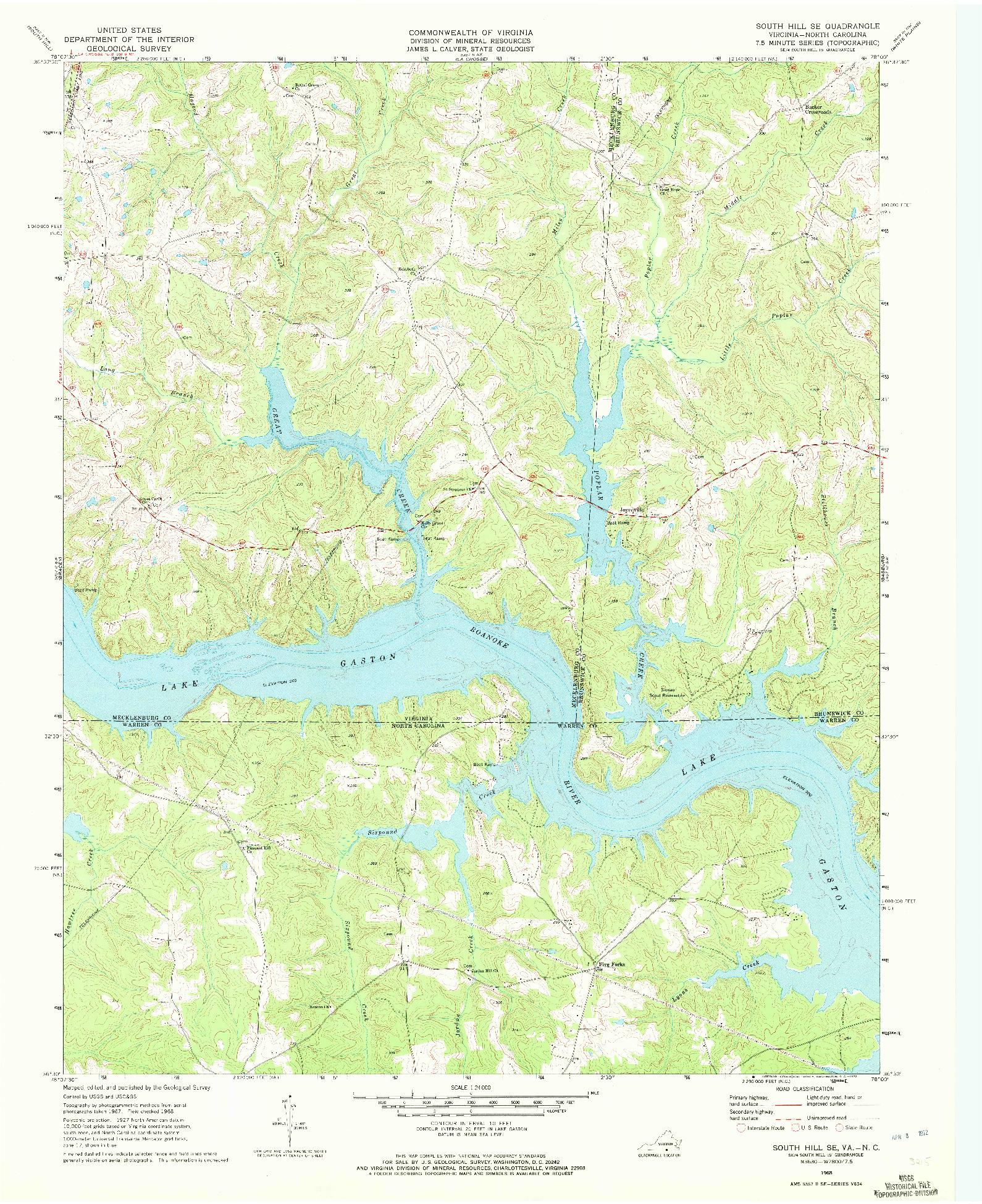 USGS 1:24000-SCALE QUADRANGLE FOR SOUTH HILL SE, VA 1968