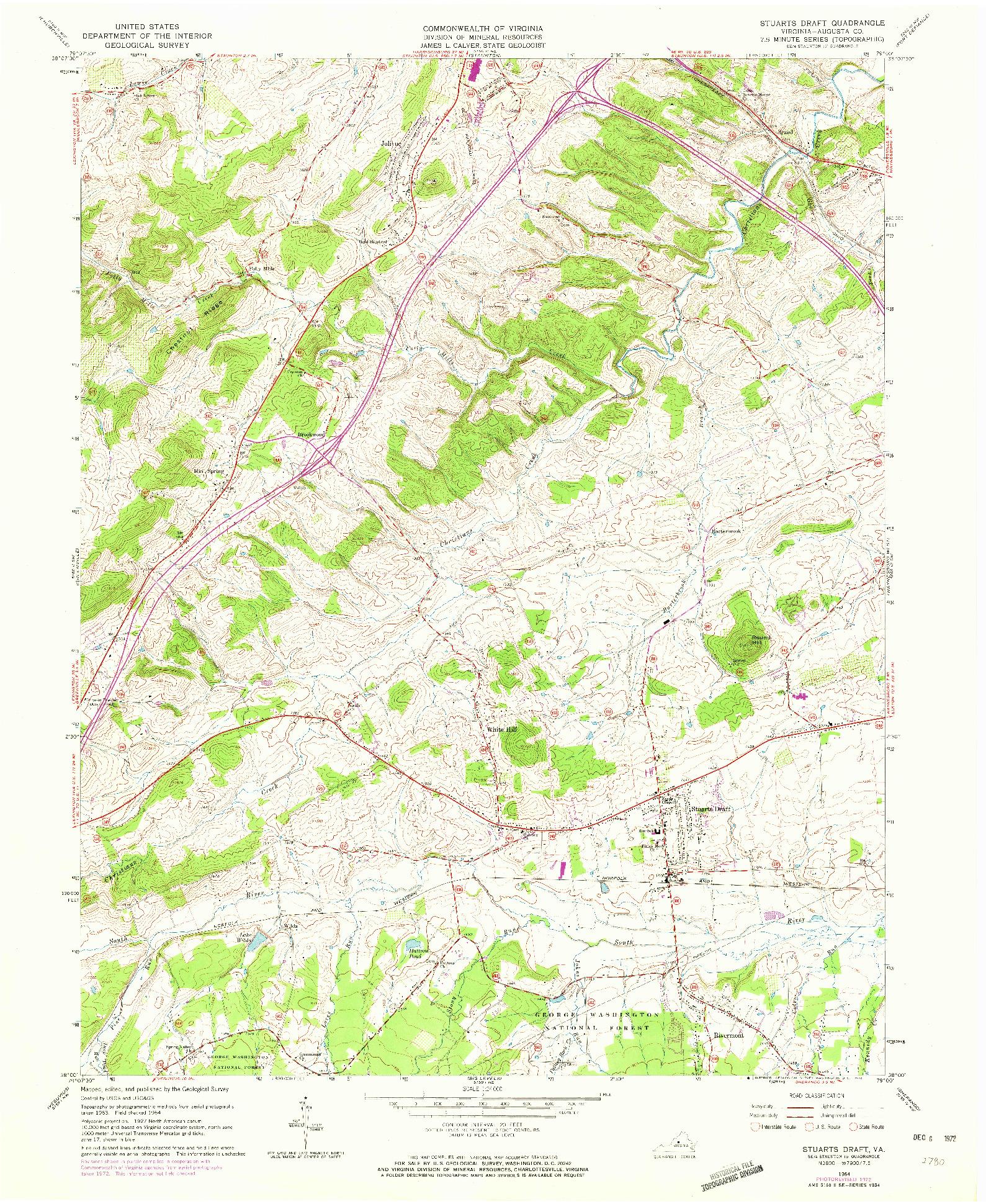USGS 1:24000-SCALE QUADRANGLE FOR STUARTS DRAFT, VA 1964