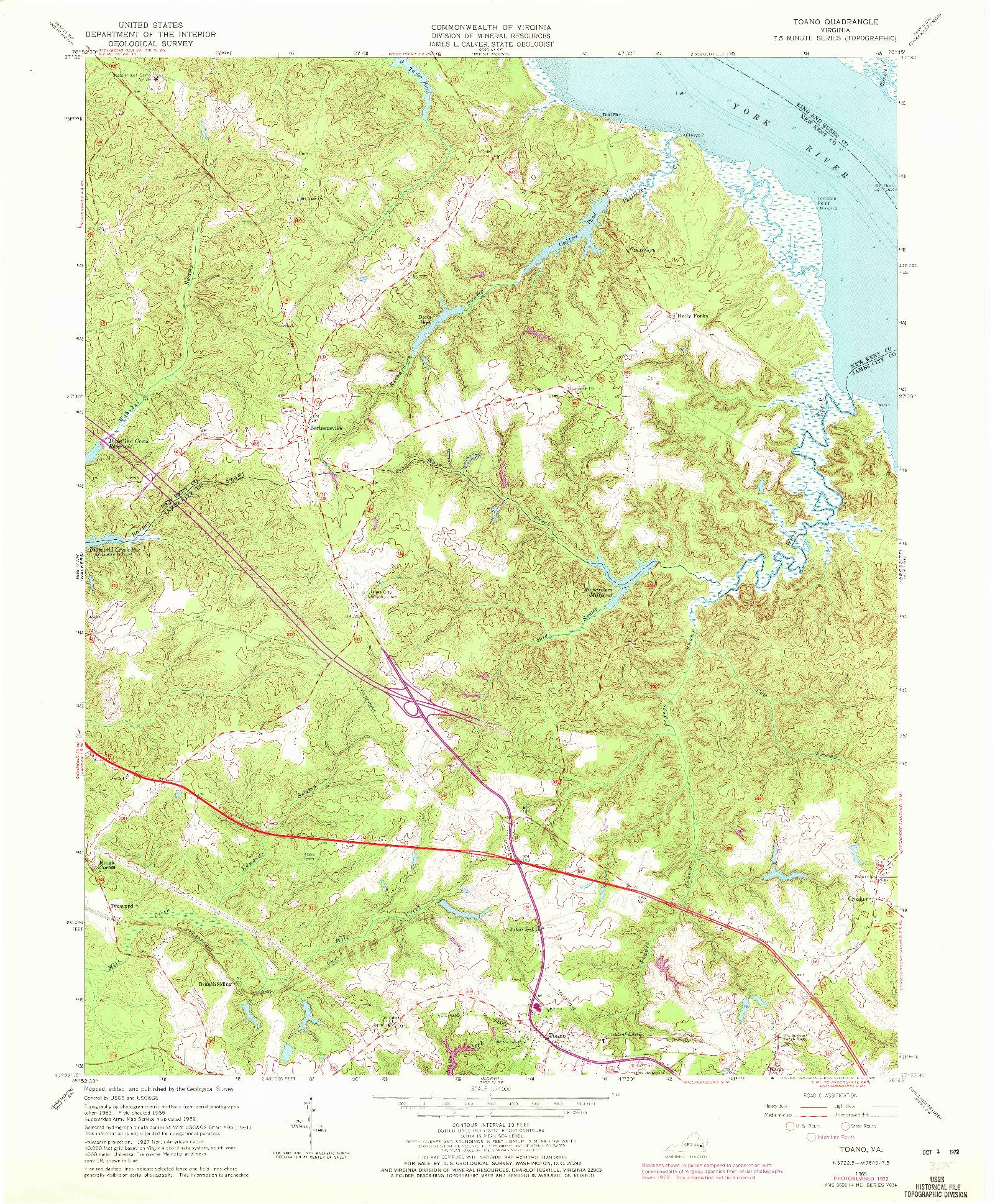 USGS 1:24000-SCALE QUADRANGLE FOR TOANO, VA 1965