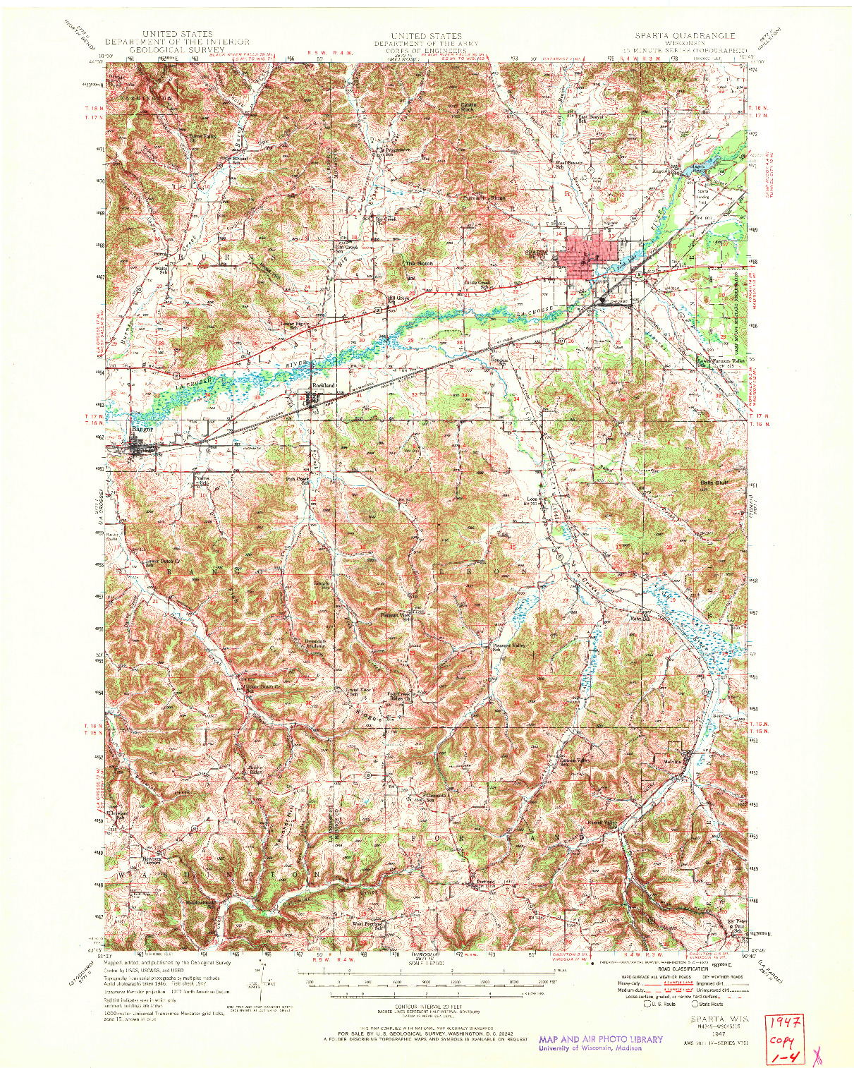 USGS 1:62500-SCALE QUADRANGLE FOR SPARTA, WI 1947