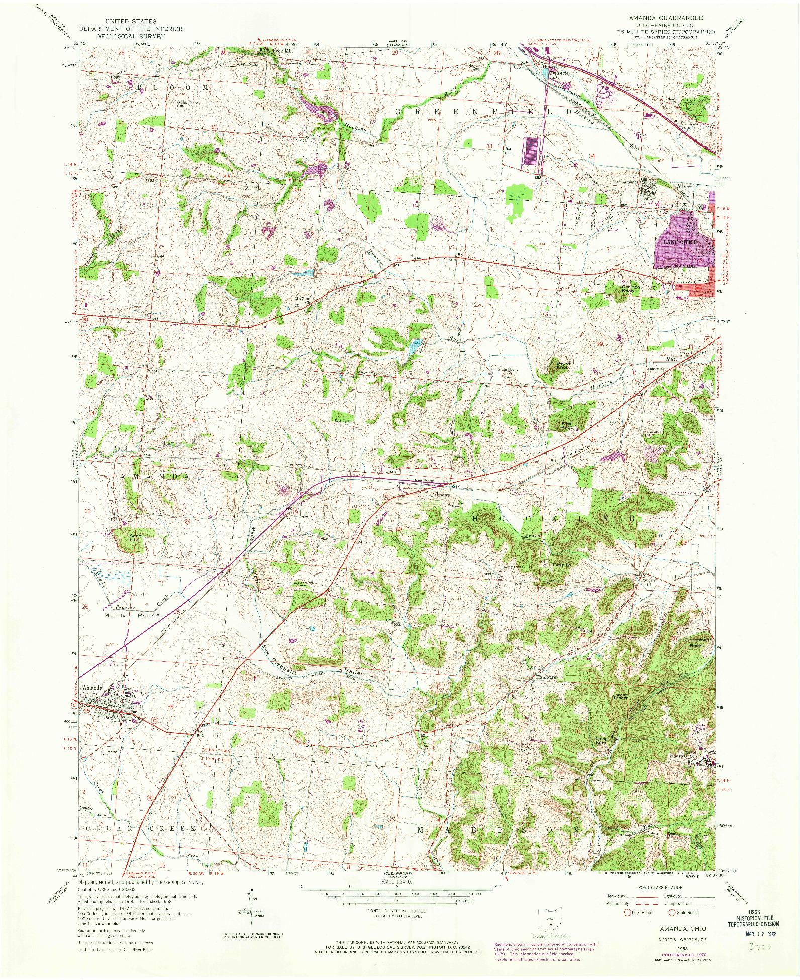 USGS 1:24000-SCALE QUADRANGLE FOR AMANDA, OH 1958