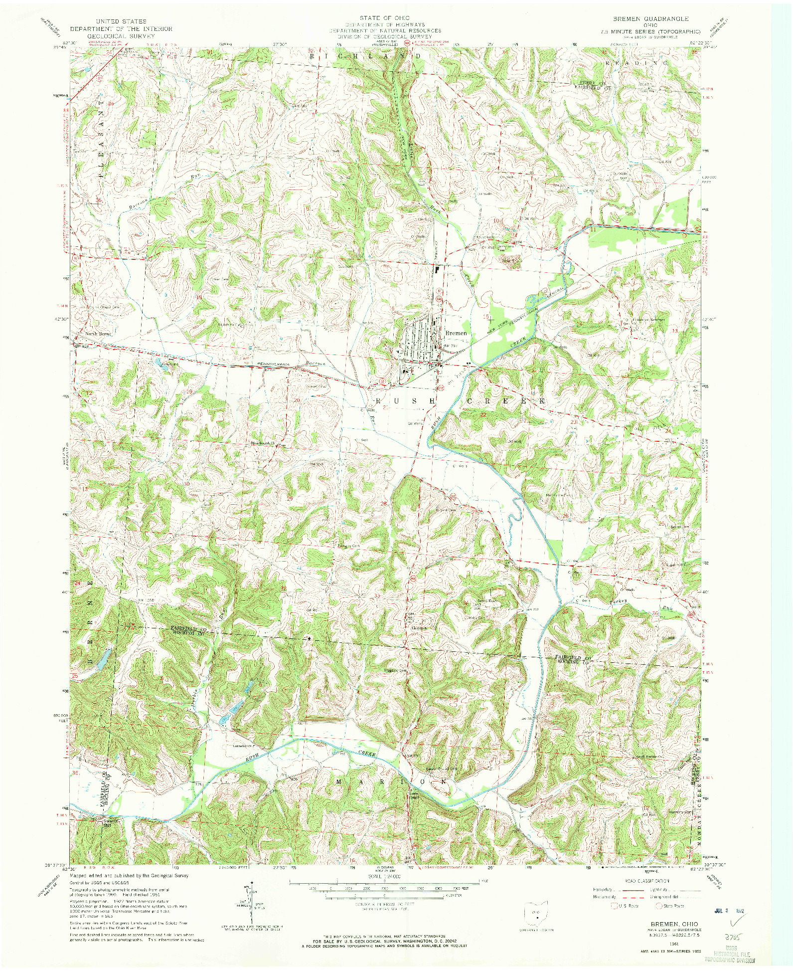 USGS 1:24000-SCALE QUADRANGLE FOR BREMEN, OH 1961