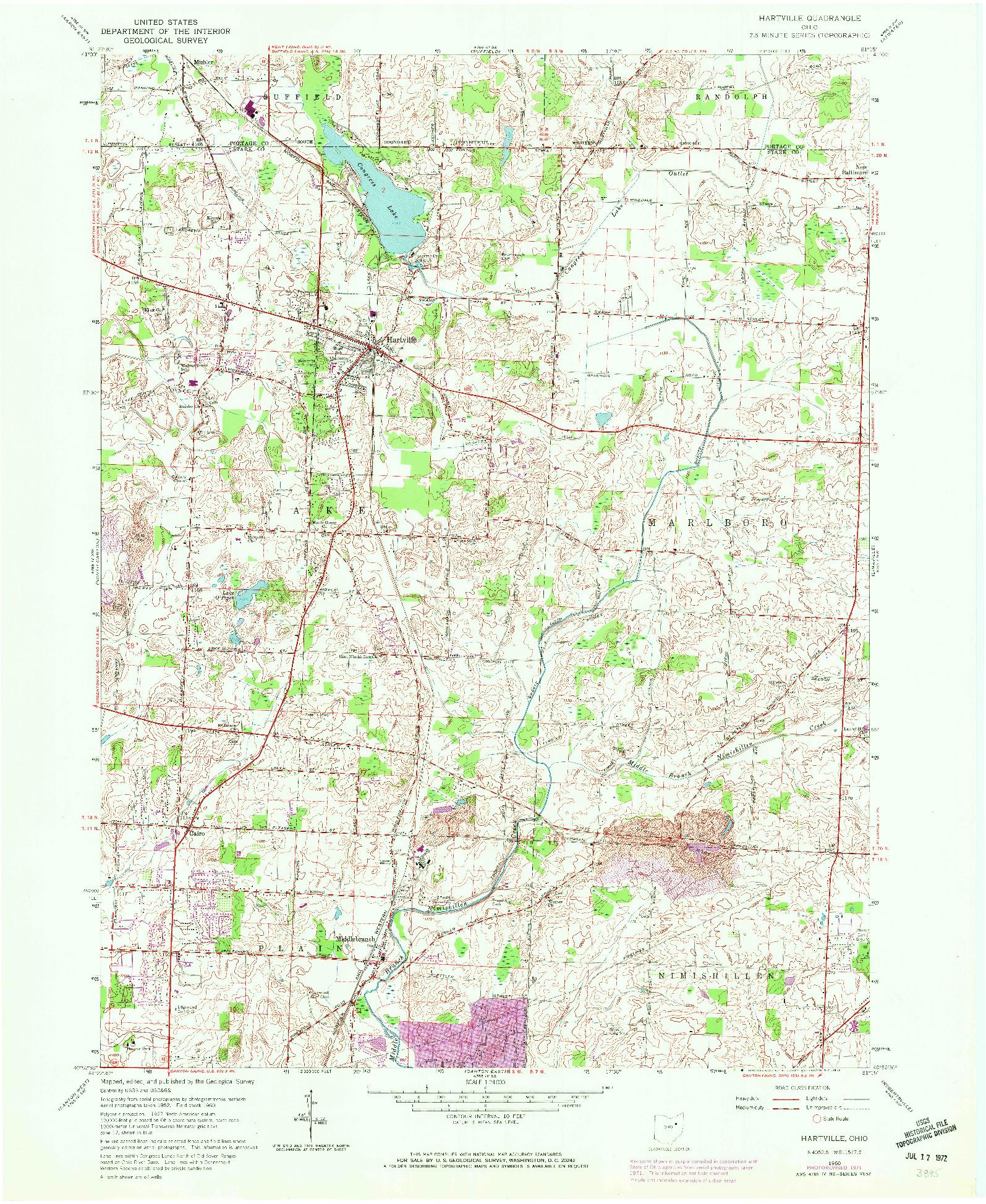 USGS 1:24000-SCALE QUADRANGLE FOR HARTVILLE, OH 1960