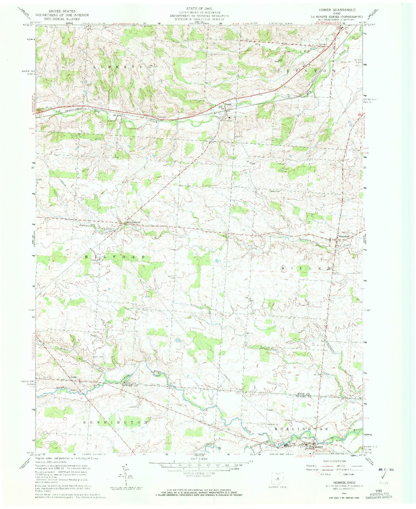 USGS 1:24000-SCALE QUADRANGLE FOR HOMER, OH 1961