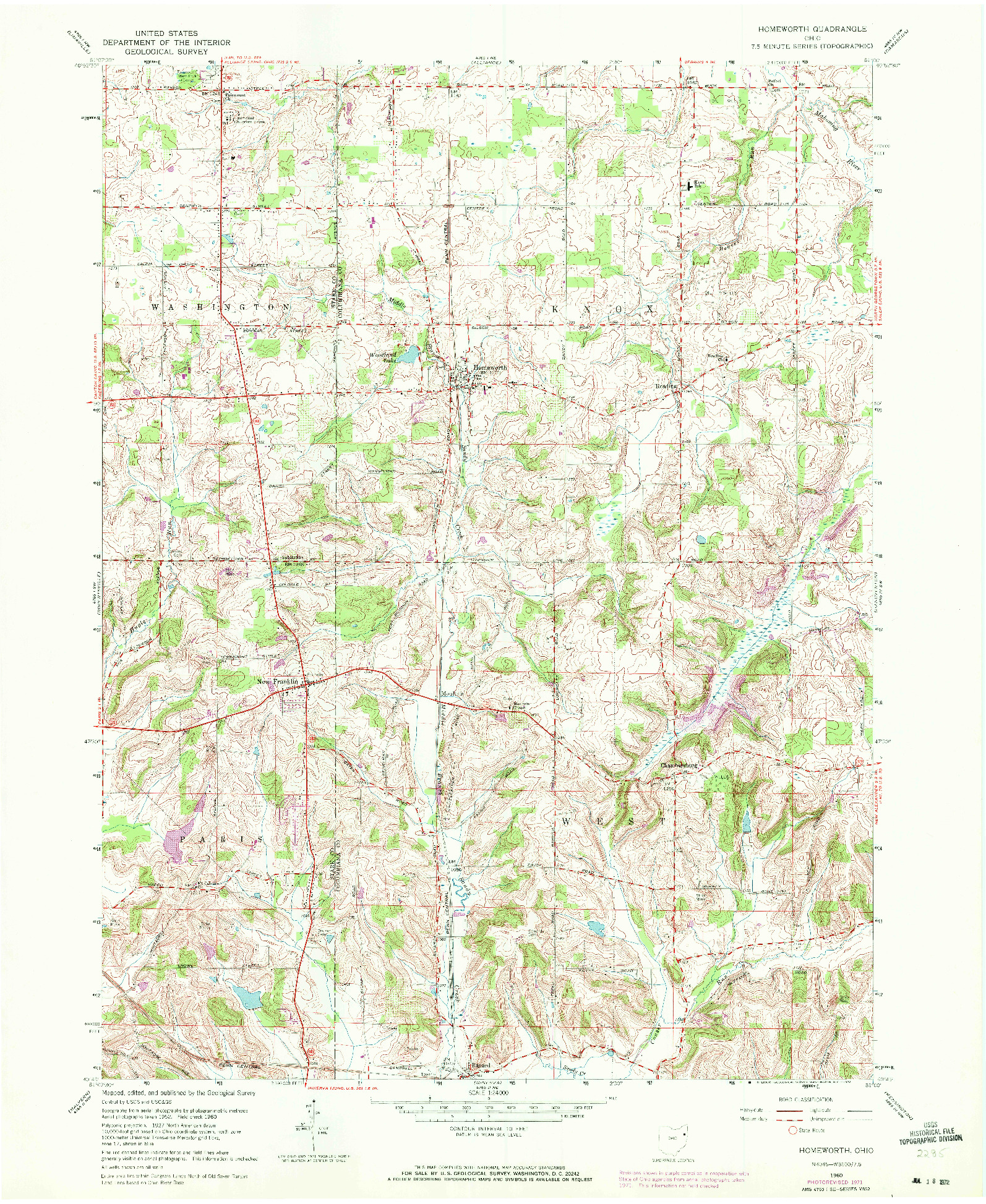 USGS 1:24000-SCALE QUADRANGLE FOR HOMEWORTH, OH 1960
