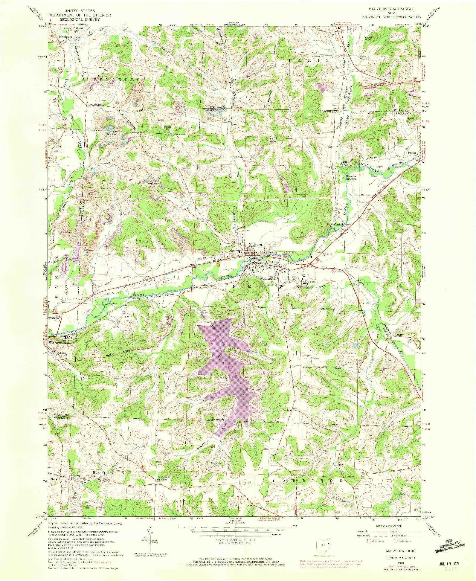 USGS 1:24000-SCALE QUADRANGLE FOR MALVERN, OH 1960
