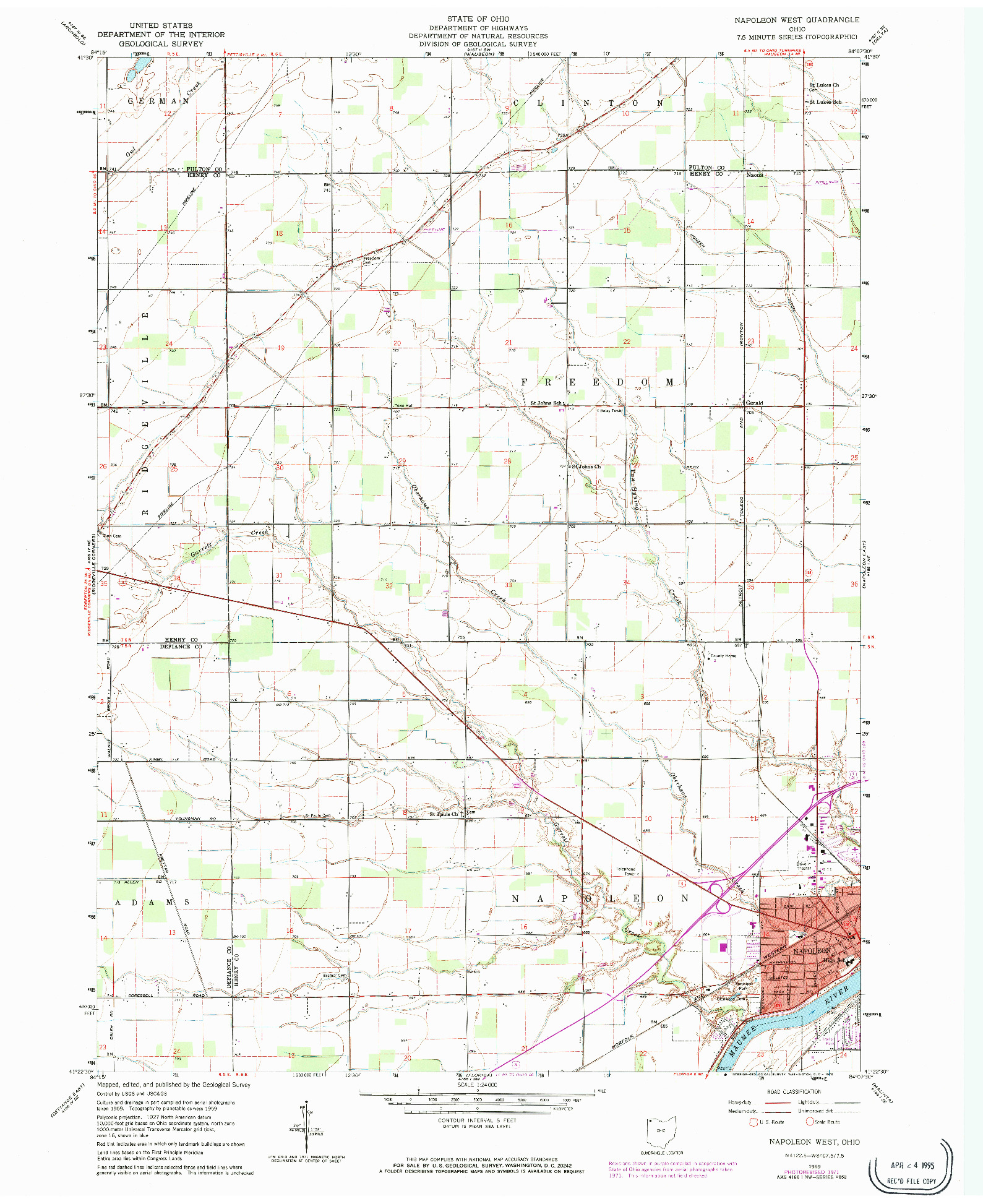 USGS 1:24000-SCALE QUADRANGLE FOR NAPOLEON WEST, OH 1959