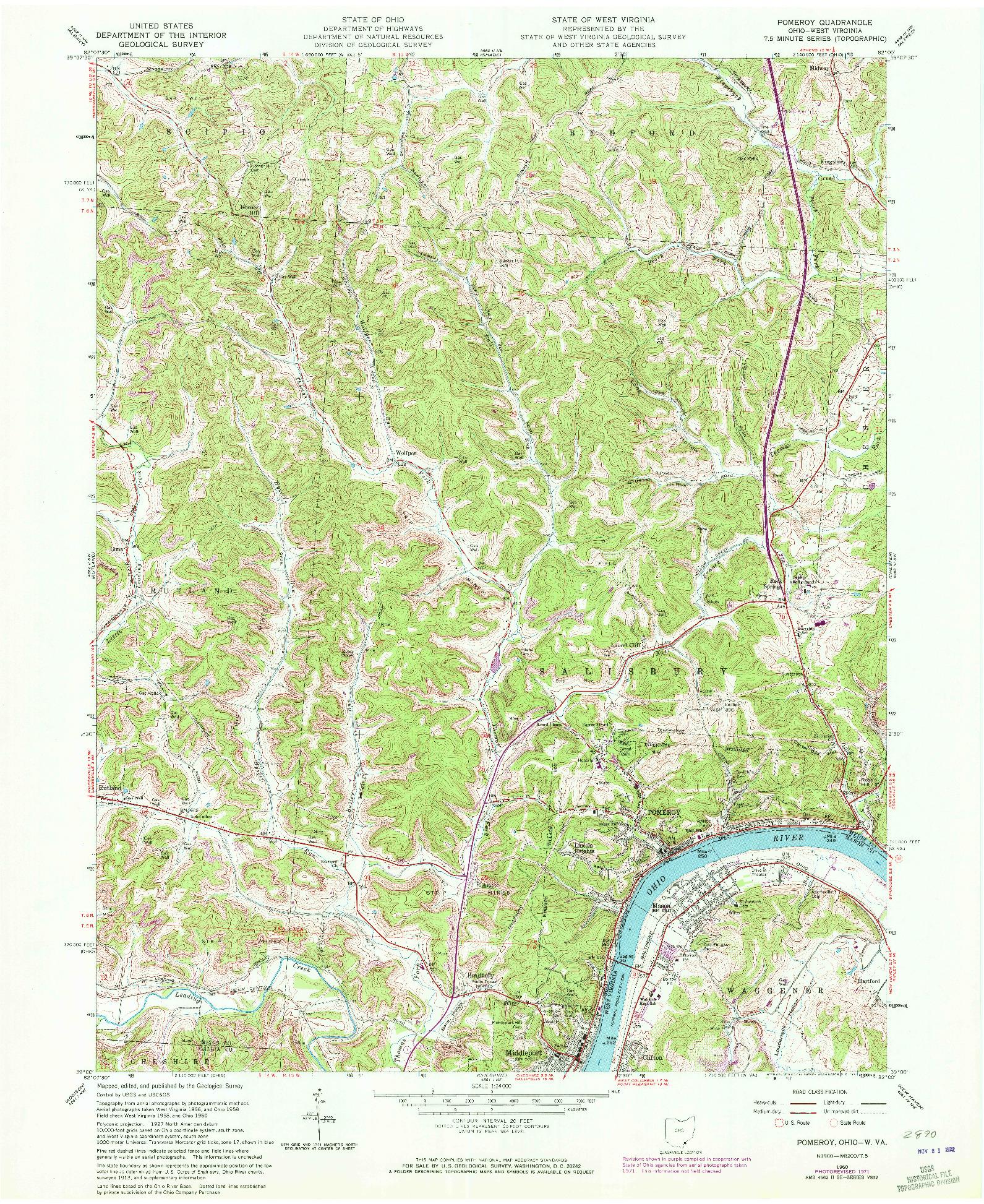 USGS 1:24000-SCALE QUADRANGLE FOR POMEROY, OH 1960