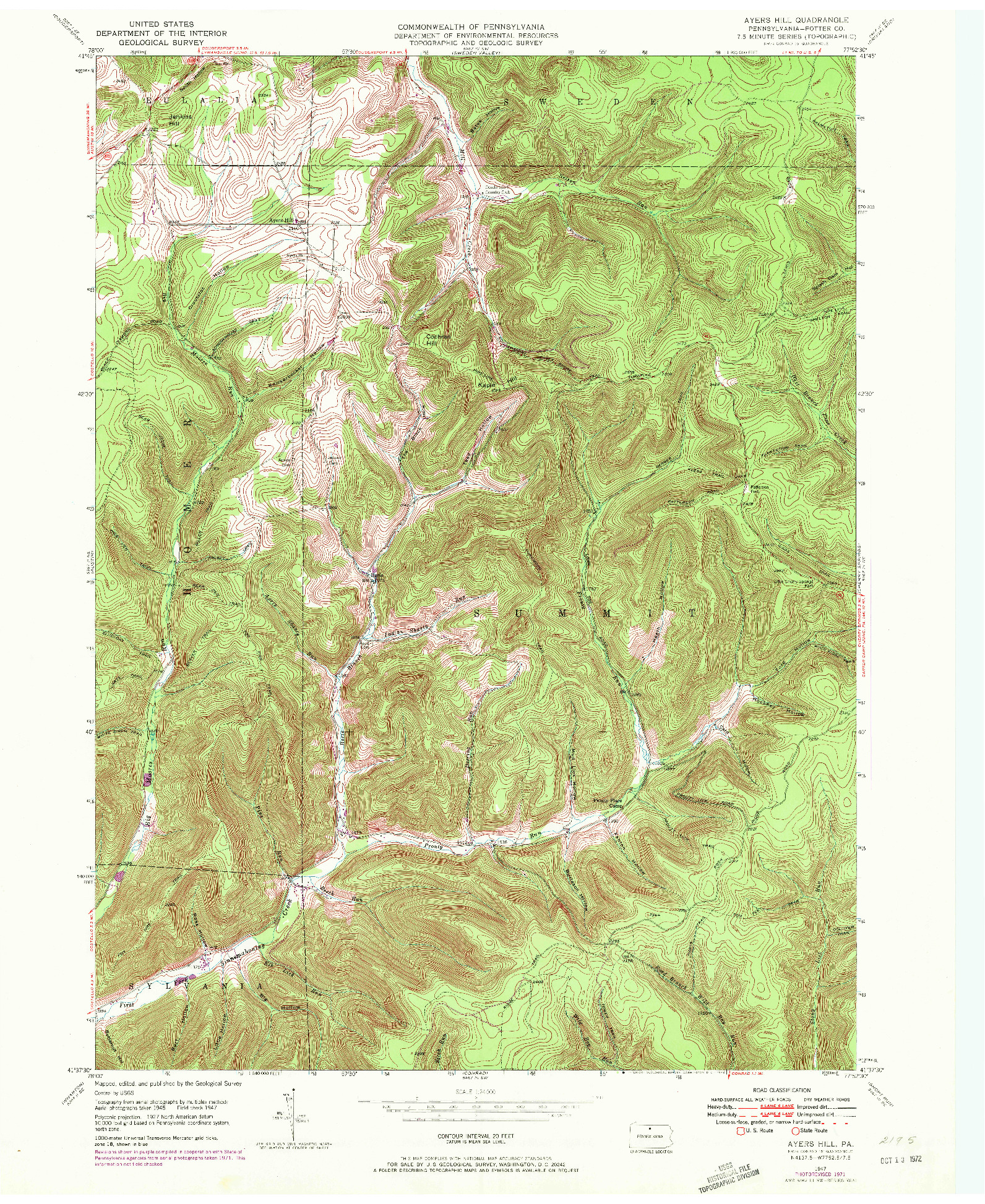 USGS 1:24000-SCALE QUADRANGLE FOR AYERS HILL, PA 1947