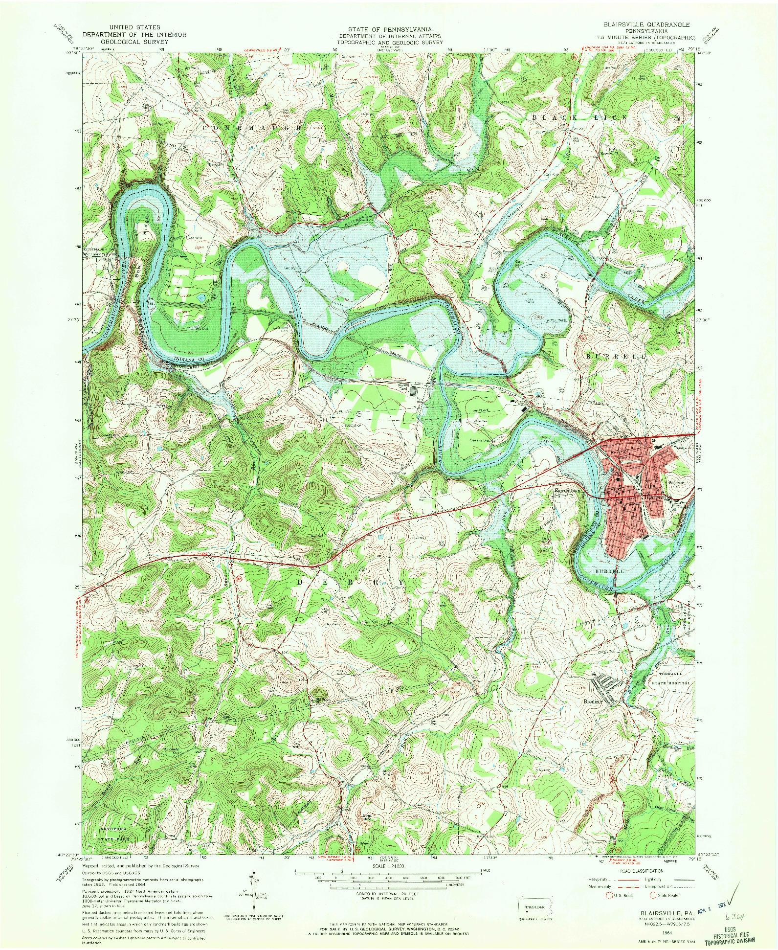 USGS 1:24000-SCALE QUADRANGLE FOR BLAIRSVILLE, PA 1964