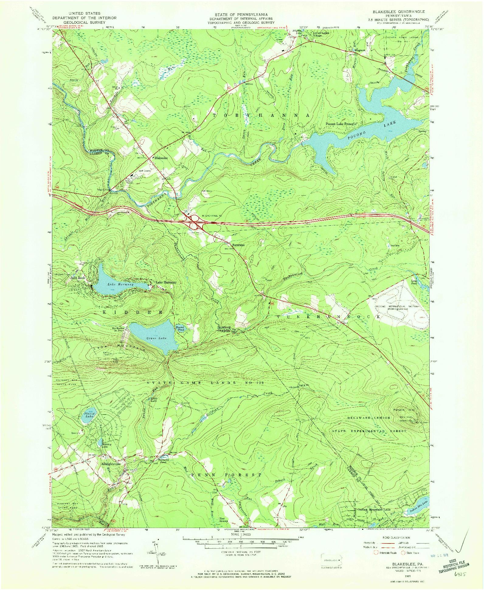 USGS 1:24000-SCALE QUADRANGLE FOR BLAKESLEE, PA 1965