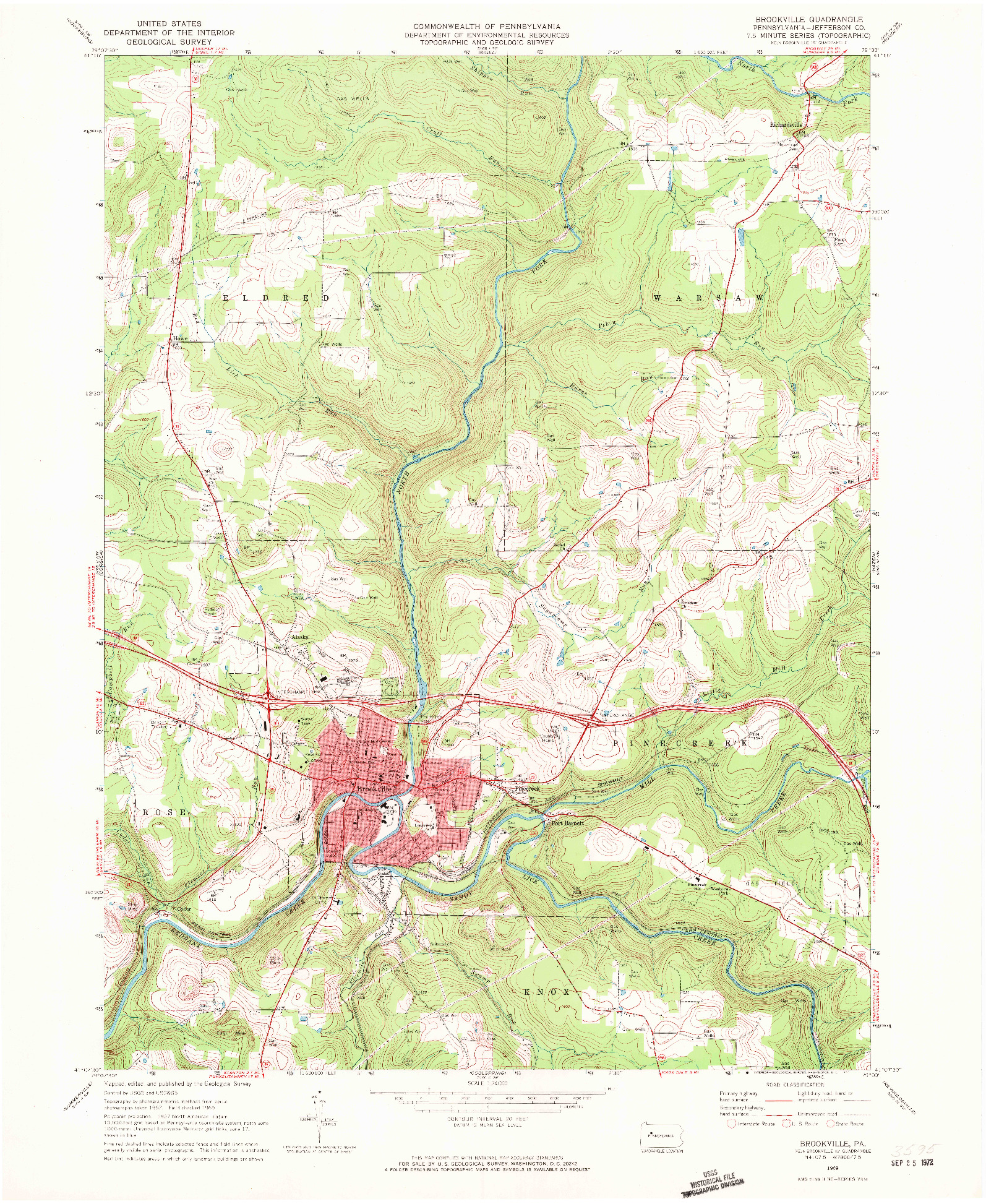 USGS 1:24000-SCALE QUADRANGLE FOR BROOKVILLE, PA 1969