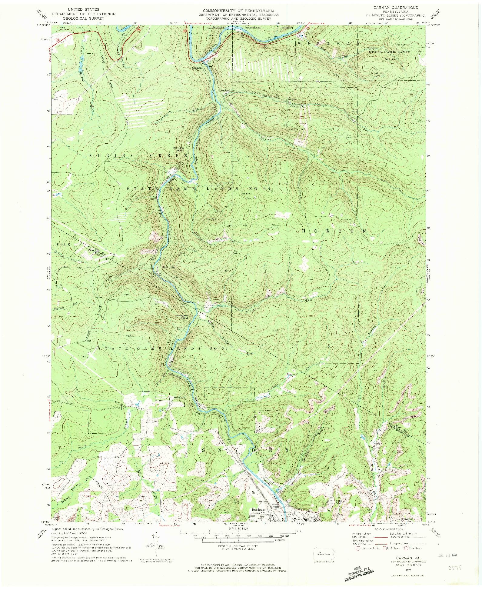 USGS 1:24000-SCALE QUADRANGLE FOR CARMAN, PA 1970