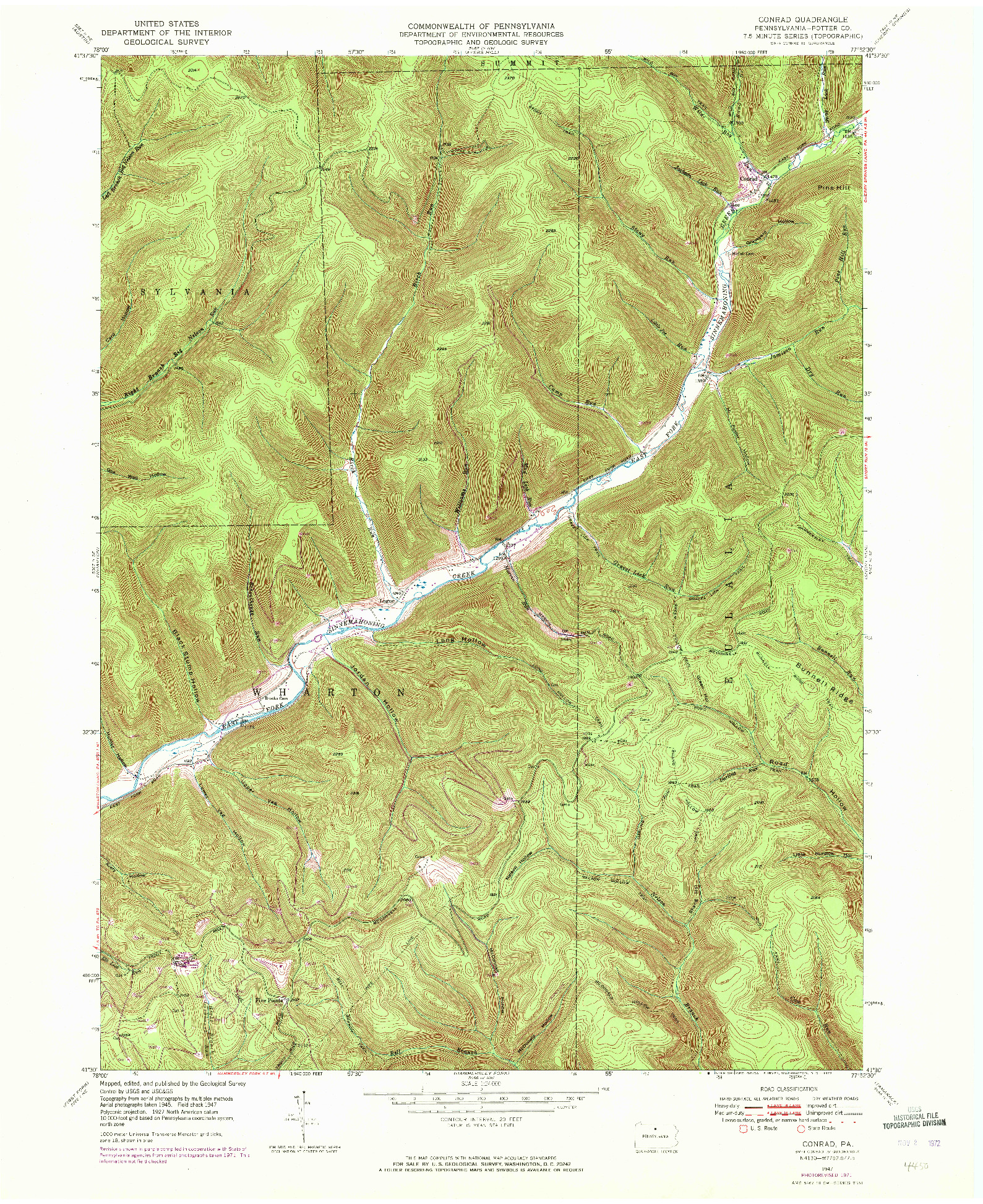 USGS 1:24000-SCALE QUADRANGLE FOR CONRAD, PA 1947