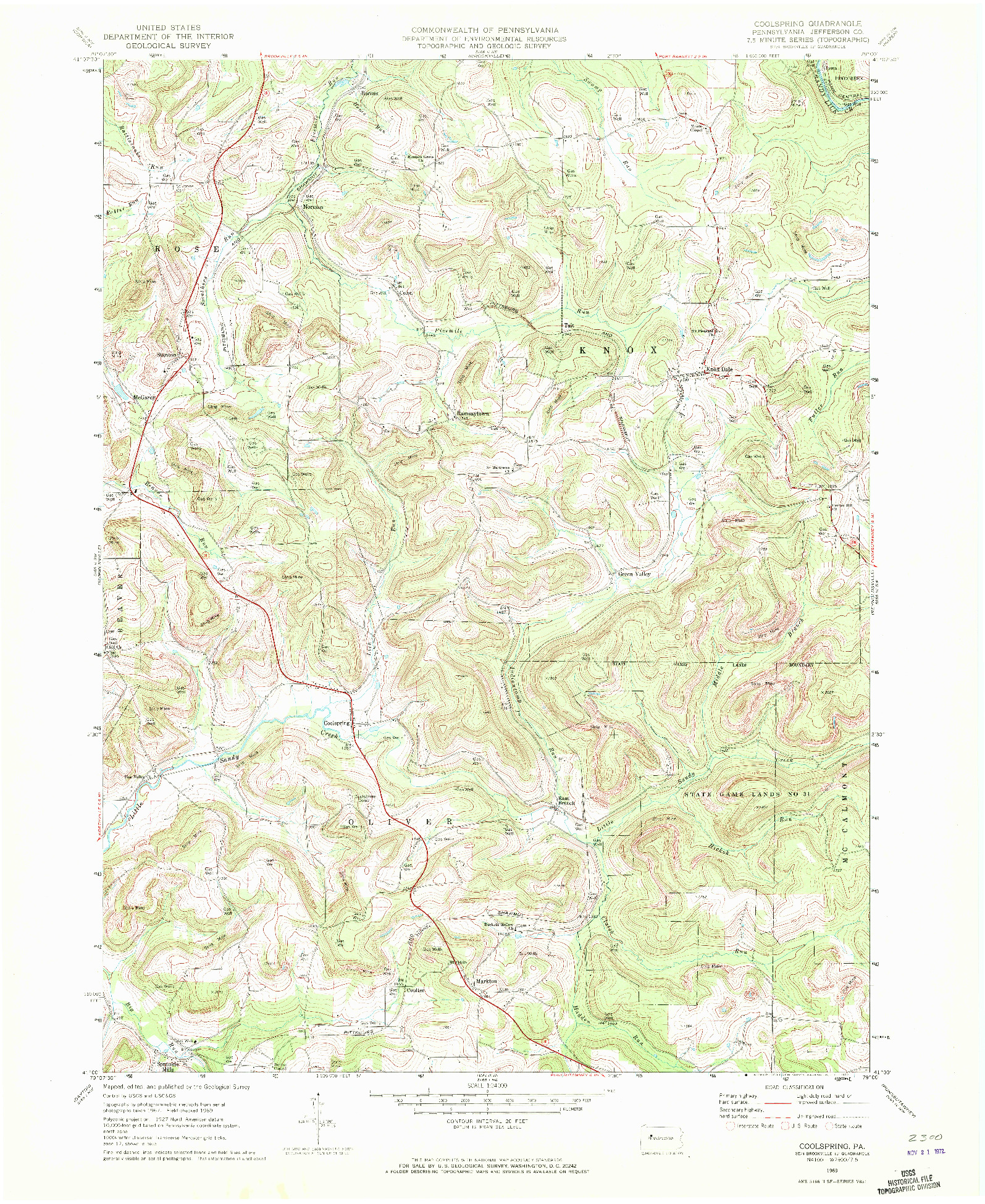 USGS 1:24000-SCALE QUADRANGLE FOR COOLSPRING, PA 1969