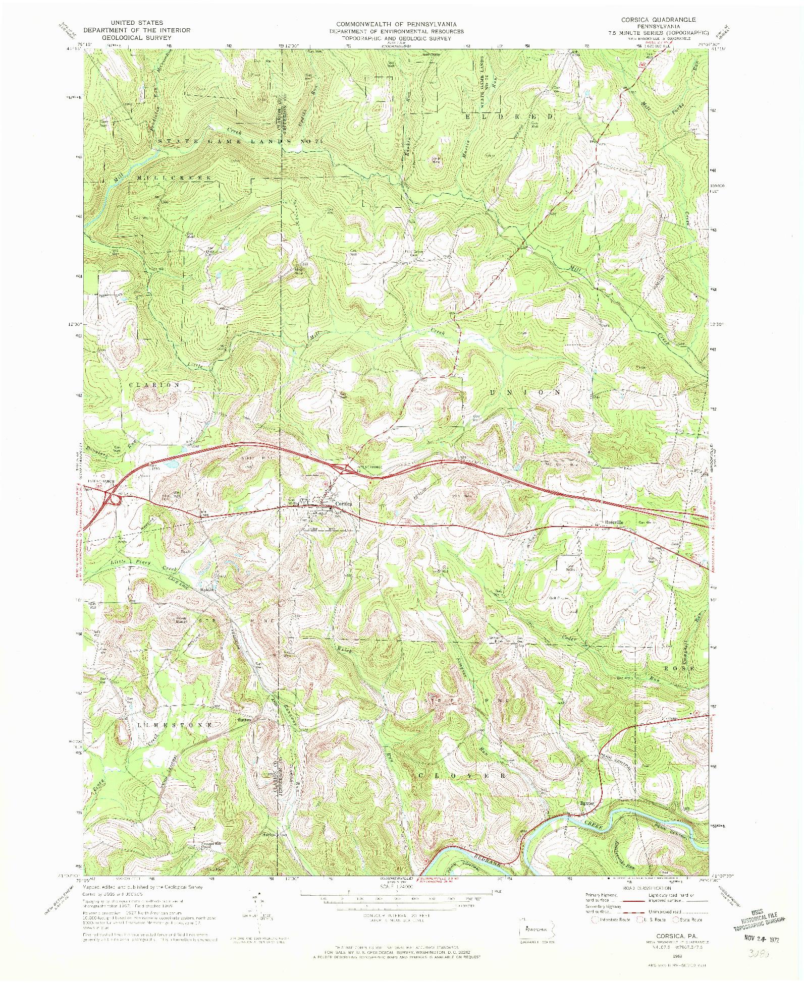 USGS 1:24000-SCALE QUADRANGLE FOR CORSICA, PA 1969