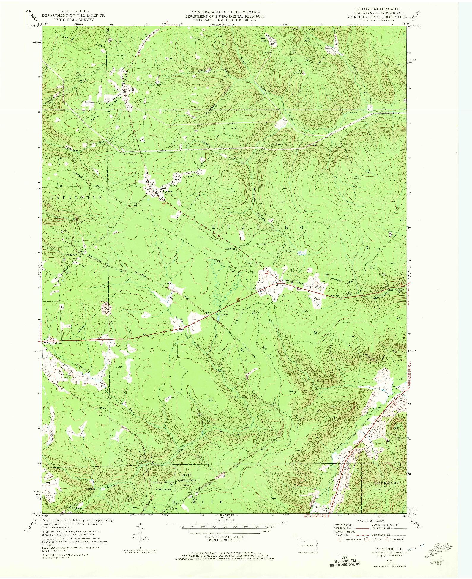 USGS 1:24000-SCALE QUADRANGLE FOR CYCLONE, PA 1969