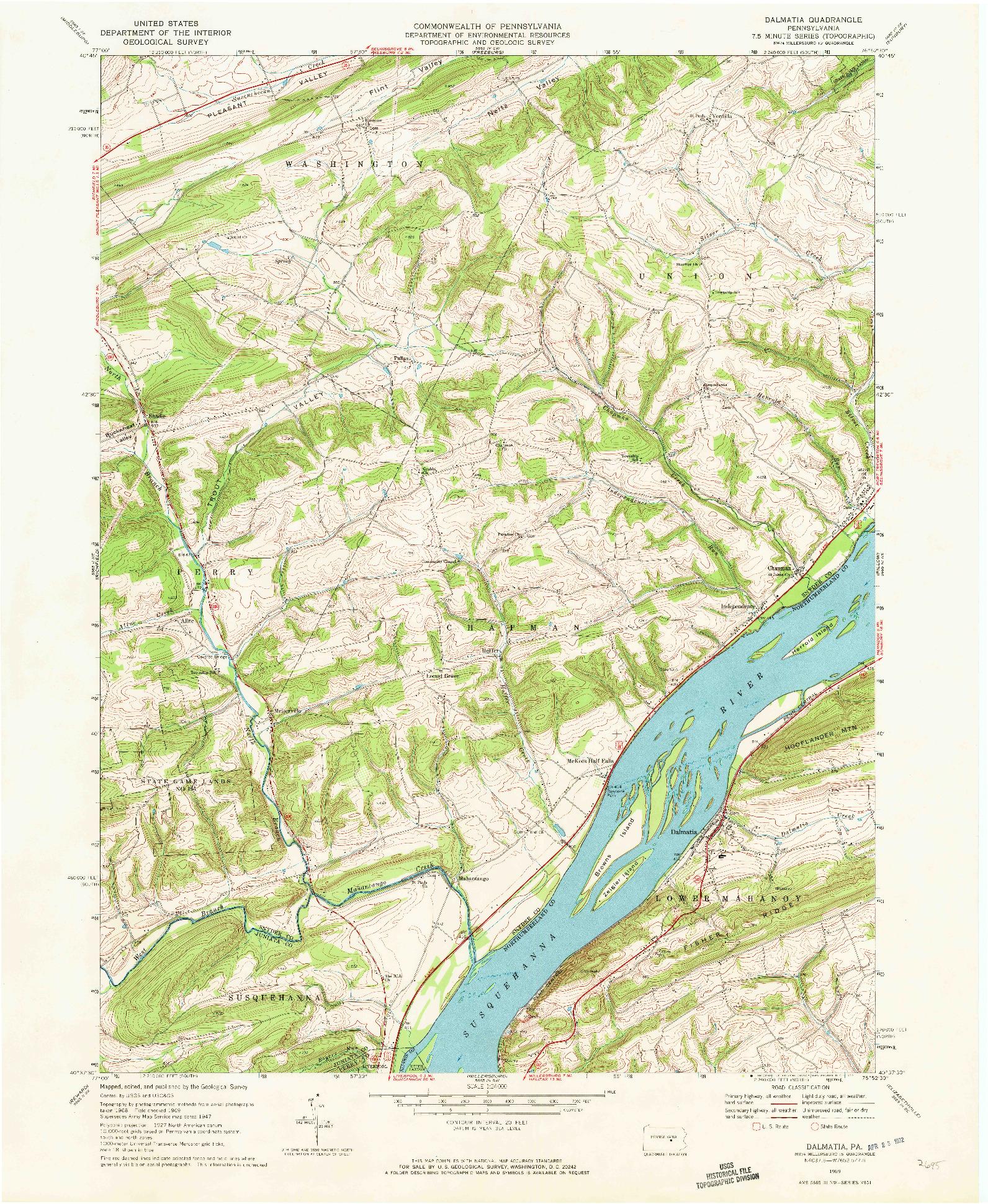 USGS 1:24000-SCALE QUADRANGLE FOR DALMATIA, PA 1969