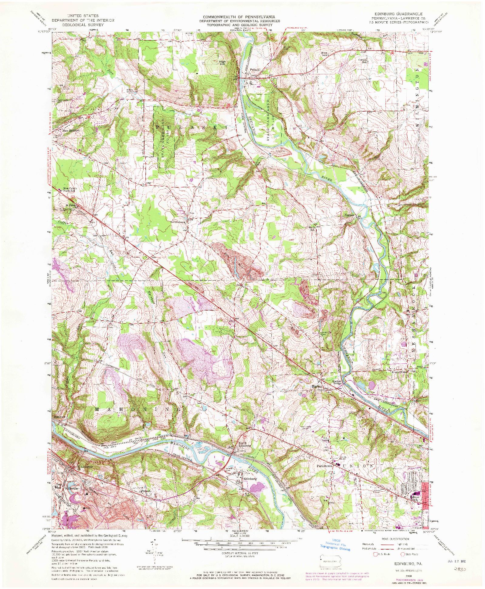 USGS 1:24000-SCALE QUADRANGLE FOR EDINBURG, PA 1958