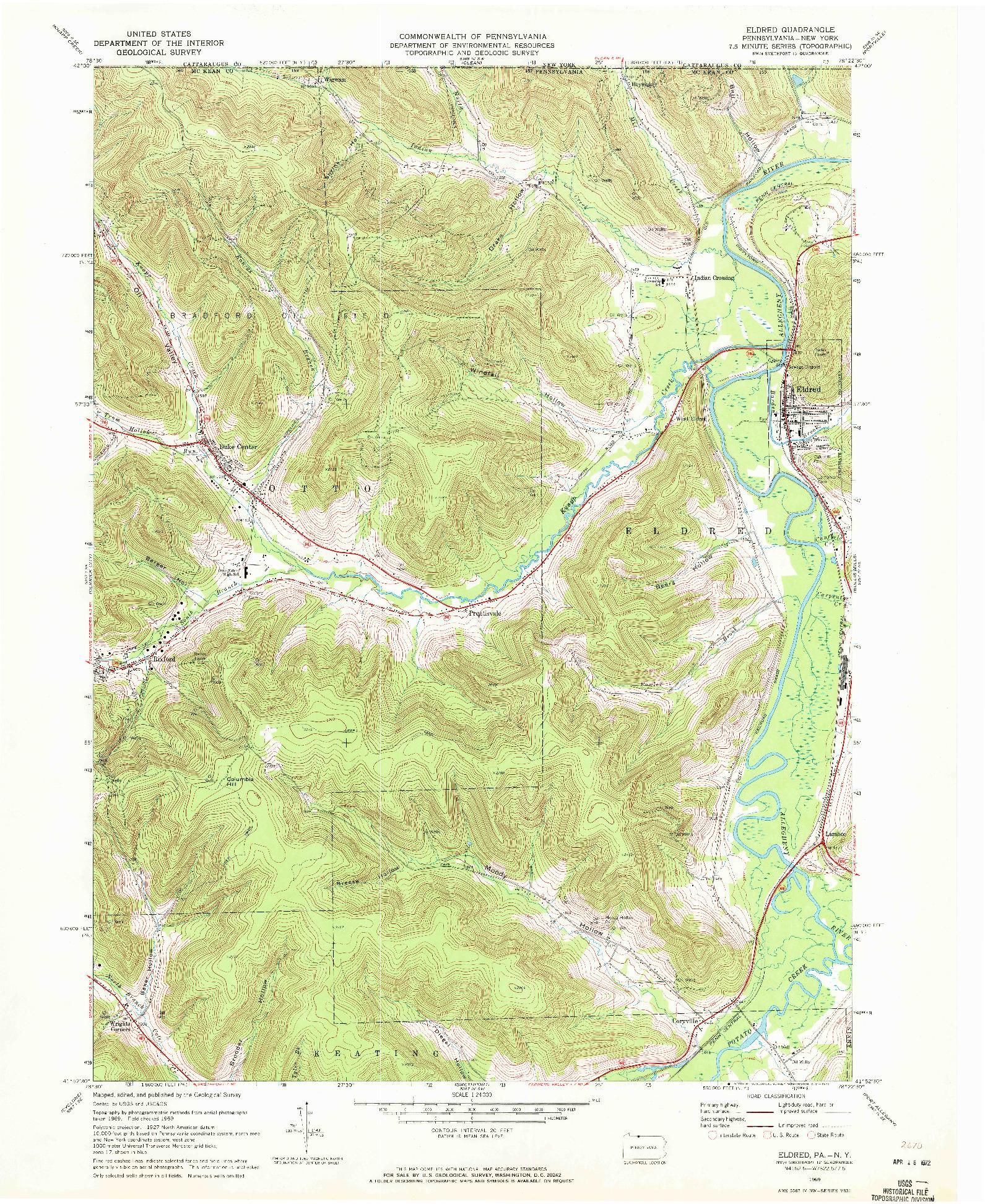USGS 1:24000-SCALE QUADRANGLE FOR ELDRED, PA 1969