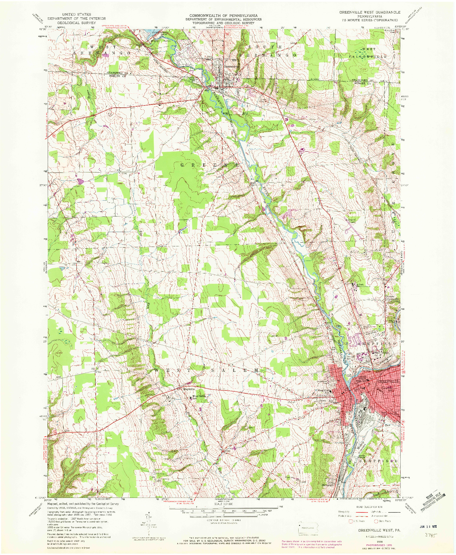 USGS 1:24000-SCALE QUADRANGLE FOR GREENSVILLE WEST, PA 1958
