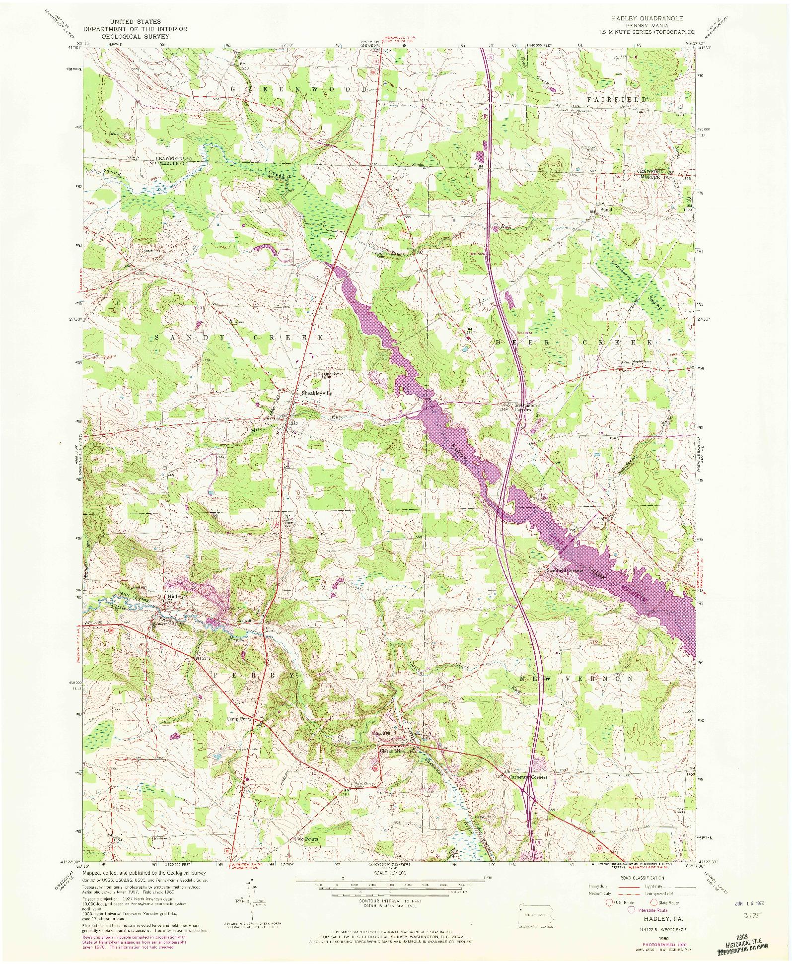 USGS 1:24000-SCALE QUADRANGLE FOR HADLEY, PA 1960