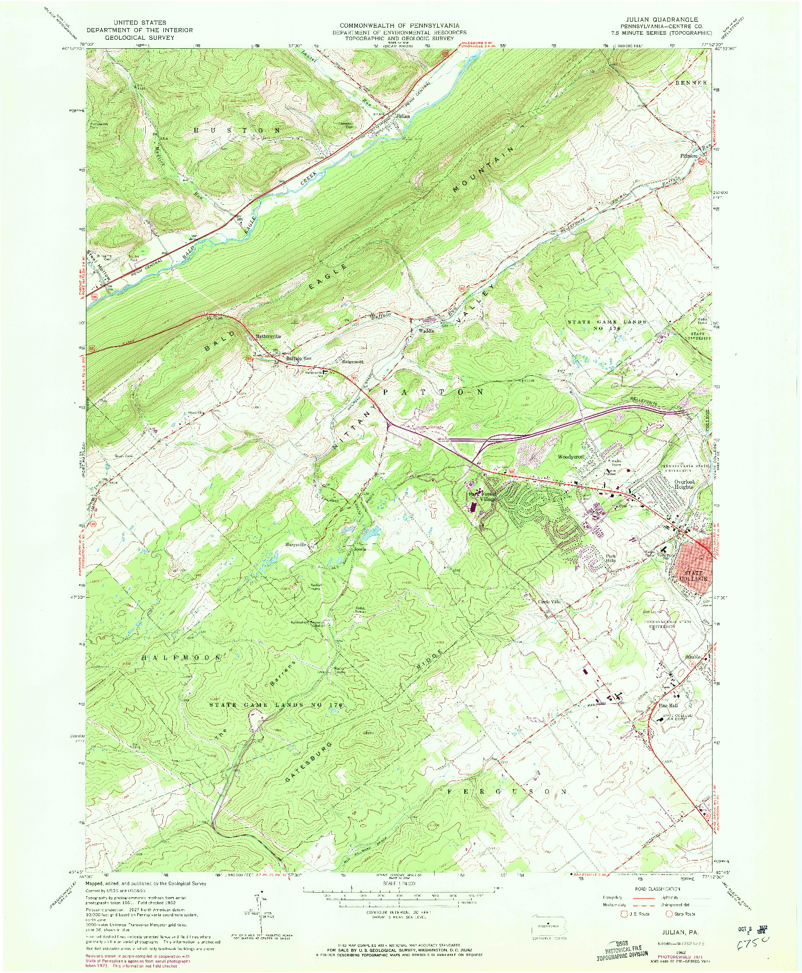 USGS 1:24000-SCALE QUADRANGLE FOR JULIAN, PA 1962