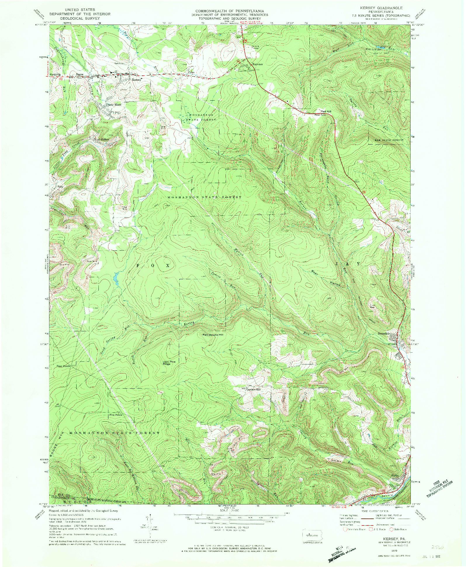 USGS 1:24000-SCALE QUADRANGLE FOR KERSEY, PA 1970