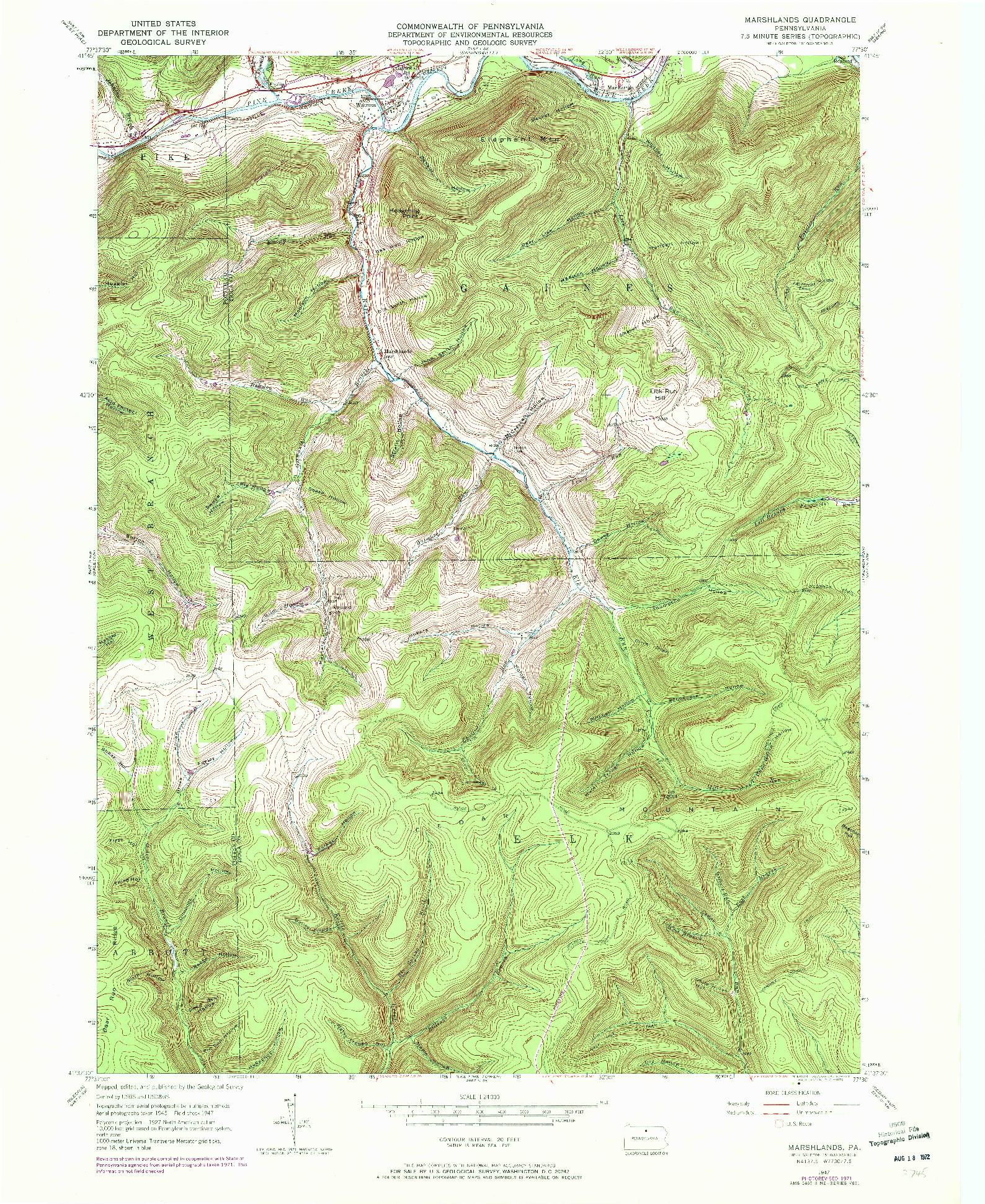 USGS 1:24000-SCALE QUADRANGLE FOR MARSHLANDS, PA 1947