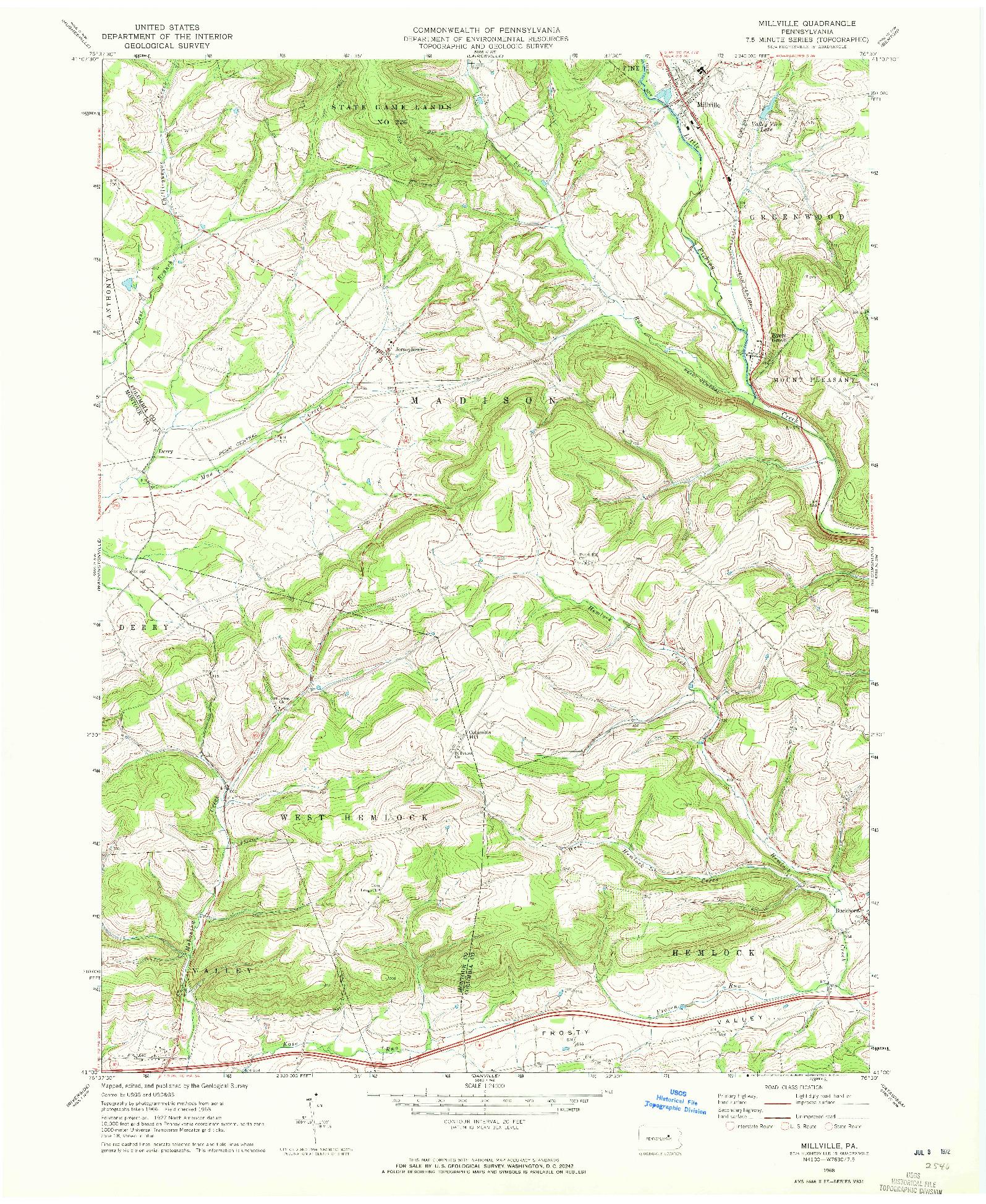 USGS 1:24000-SCALE QUADRANGLE FOR MILLVILLE, PA 1968