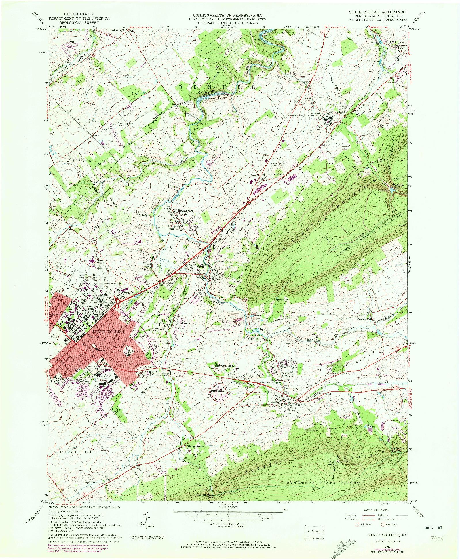 USGS 1:24000-SCALE QUADRANGLE FOR STATE COLLEGE, PA 1962