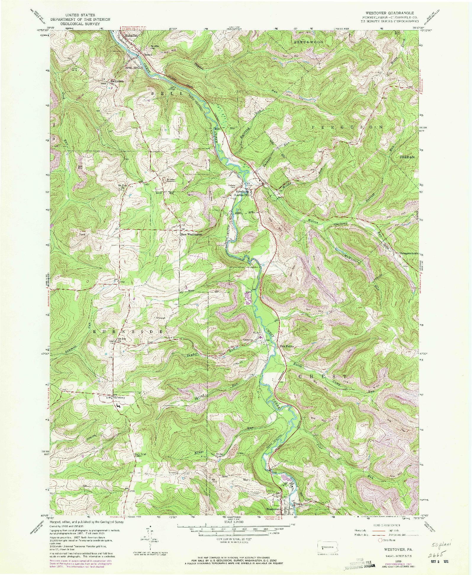 USGS 1:24000-SCALE QUADRANGLE FOR WESTOVER, PA 1959