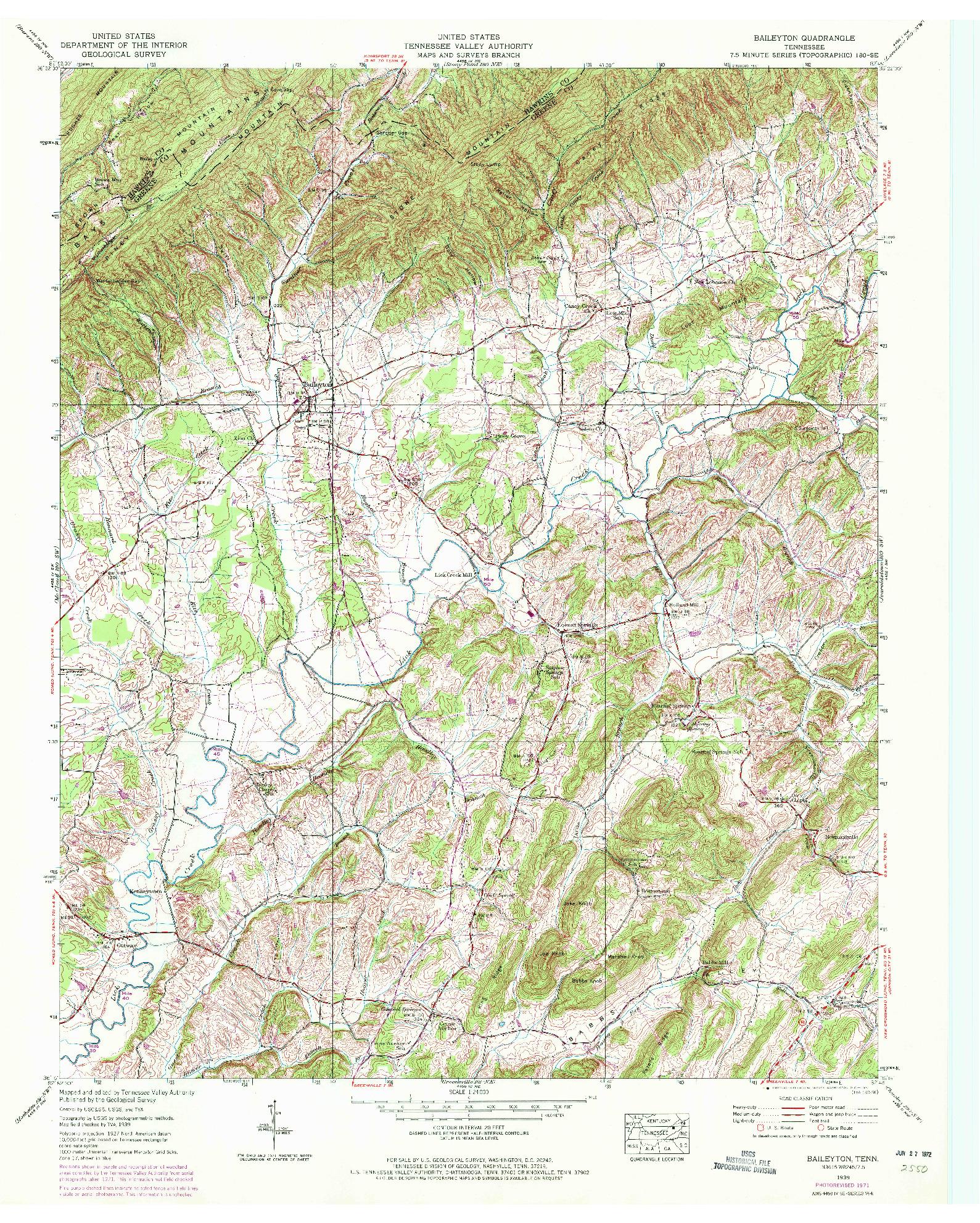 USGS 1:24000-SCALE QUADRANGLE FOR BAILEYTON, TN 1939