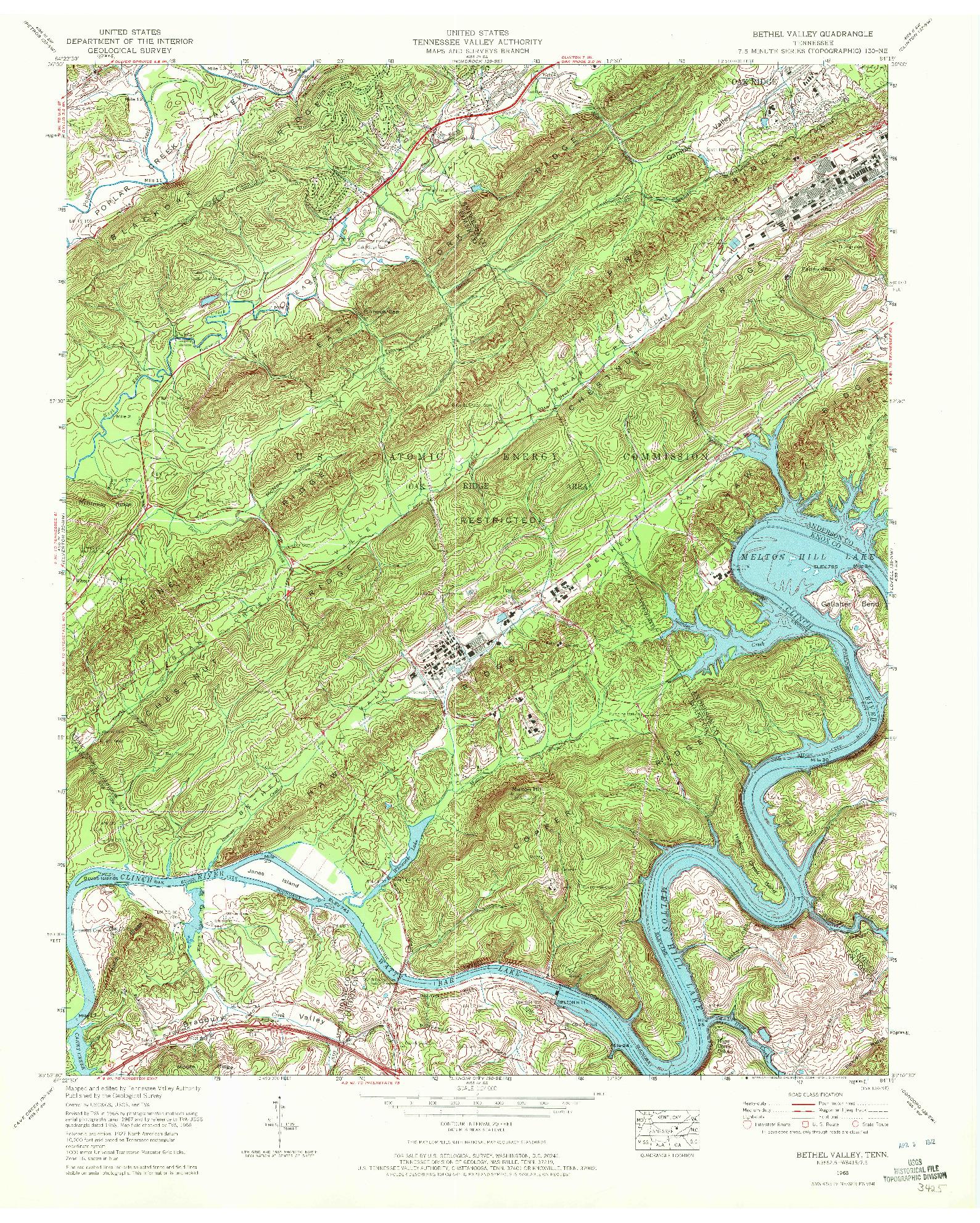 USGS 1:24000-SCALE QUADRANGLE FOR BETHEL VALLEY, TN 1968