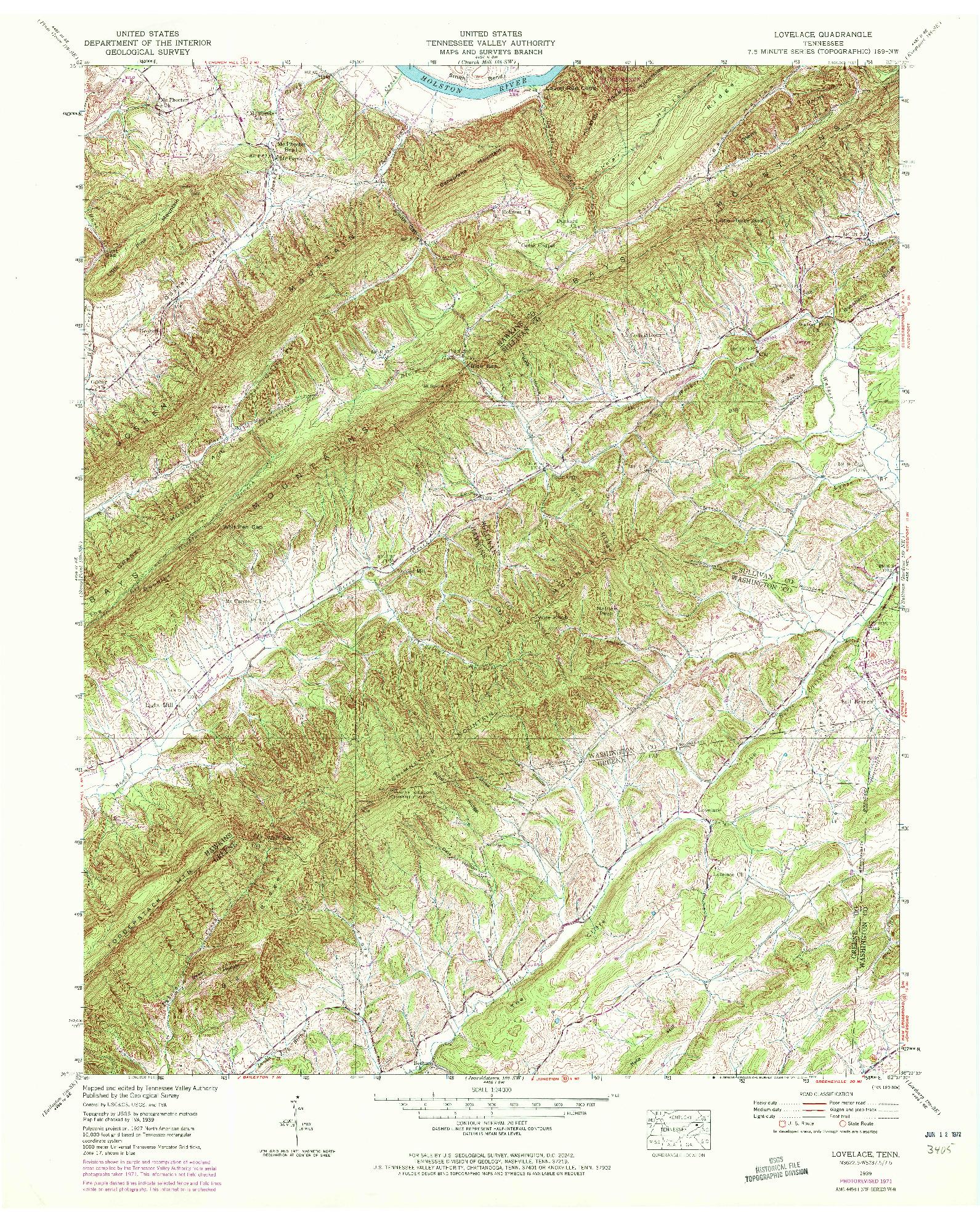 USGS 1:24000-SCALE QUADRANGLE FOR LOVELACE, TN 1939