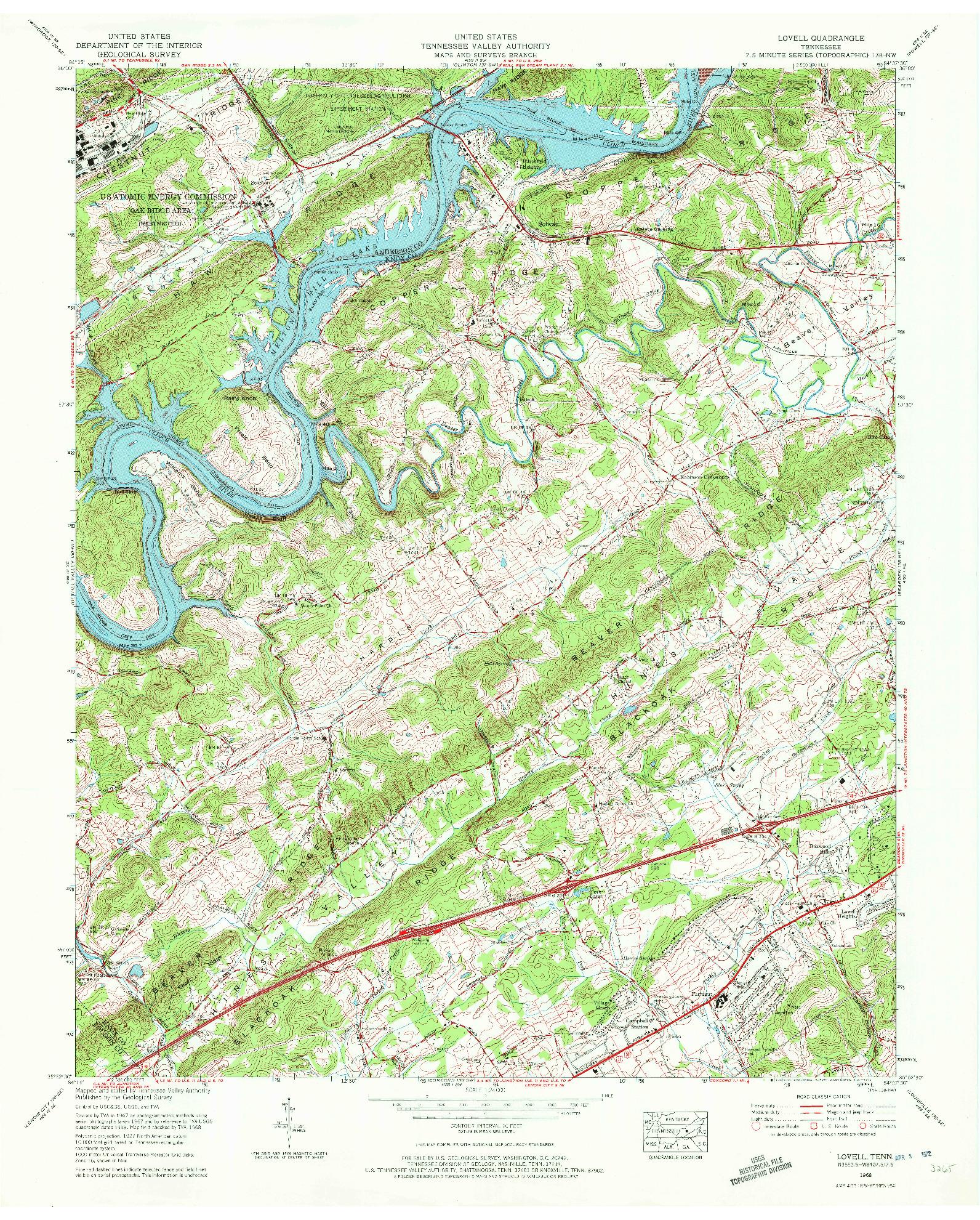 USGS 1:24000-SCALE QUADRANGLE FOR LOVELL, TN 1968
