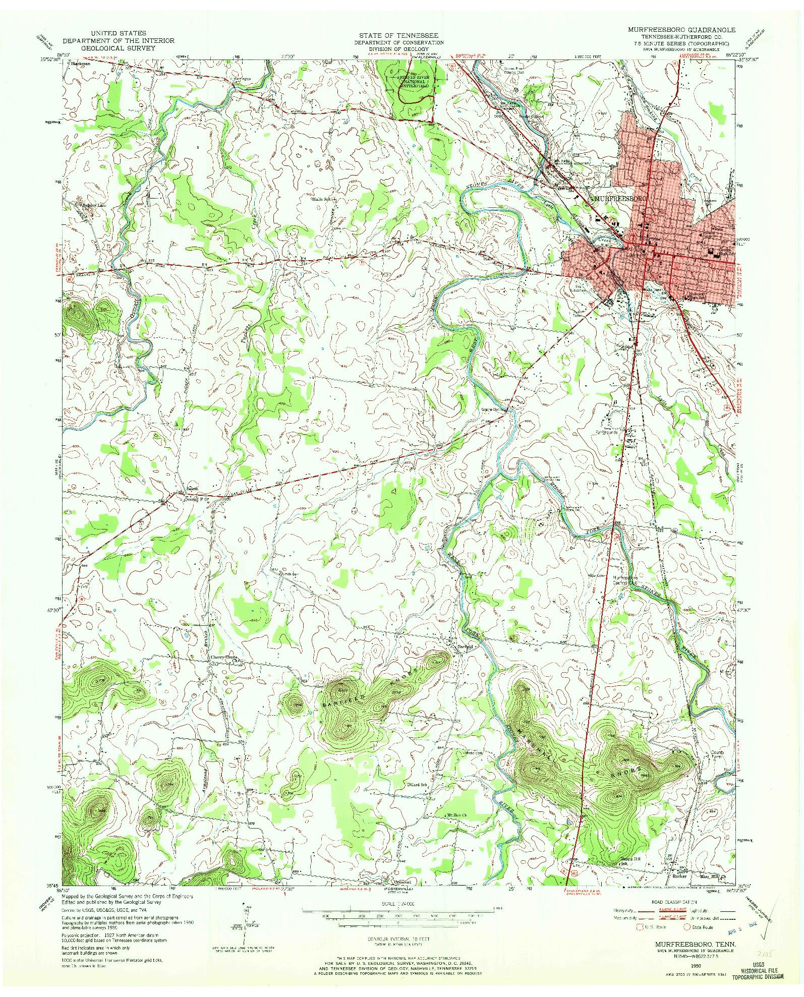 USGS 1:24000-SCALE QUADRANGLE FOR MURFREESBORO, TN 1950