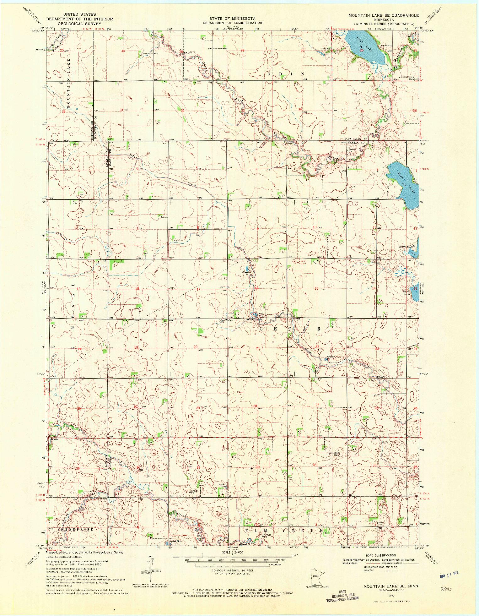 USGS 1:24000-SCALE QUADRANGLE FOR MOUNTAIN LAKE SE, MN 1970