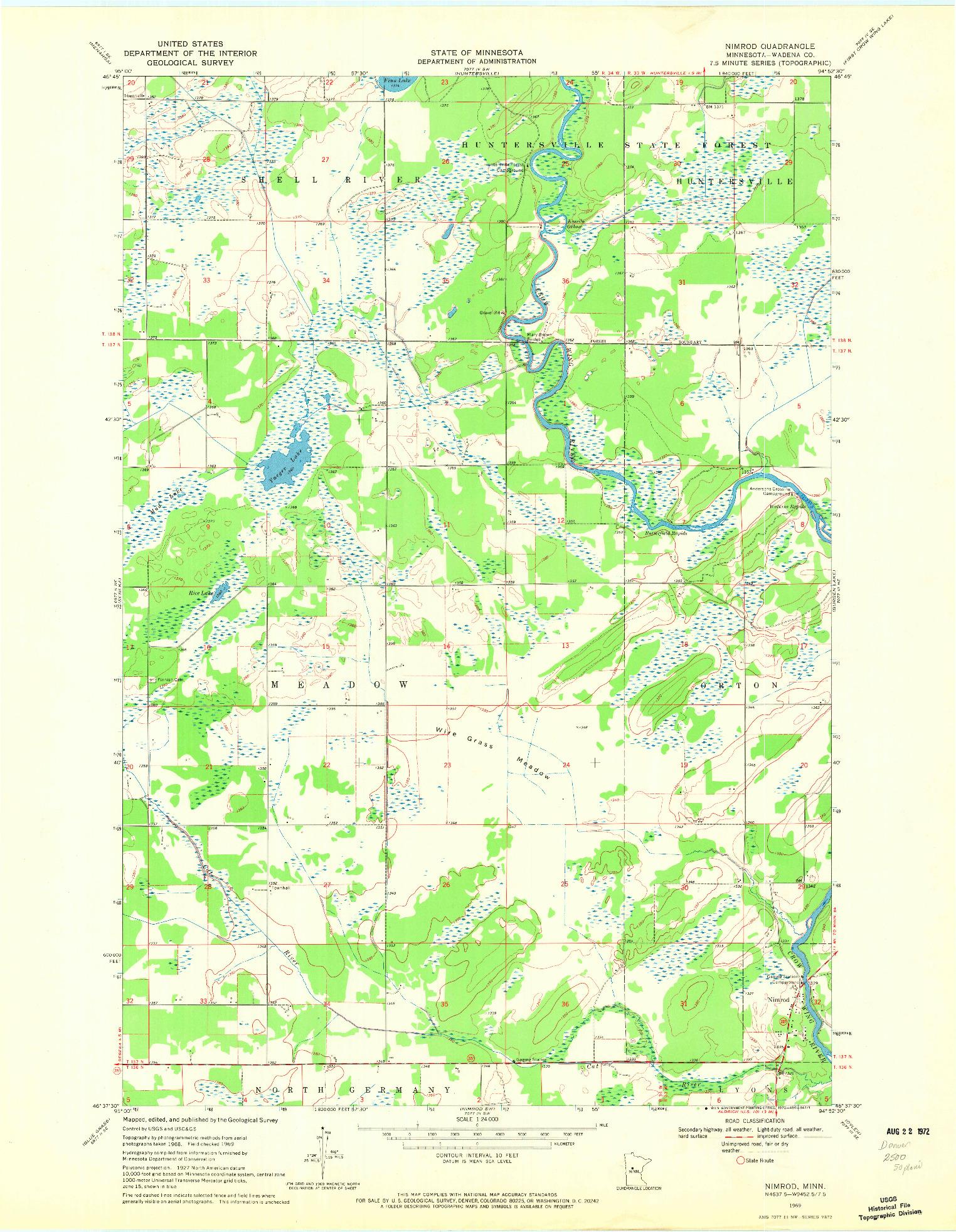 USGS 1:24000-SCALE QUADRANGLE FOR NIMROD, MN 1969