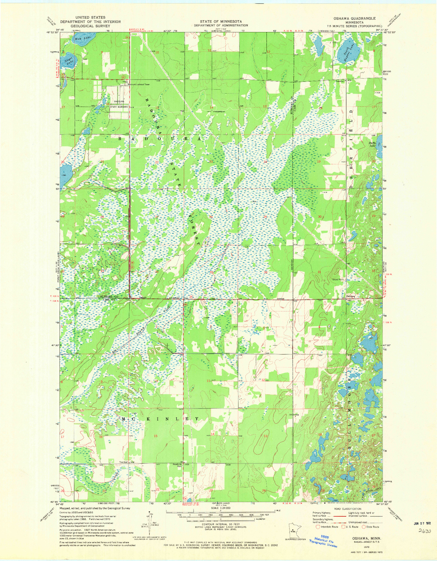 USGS 1:24000-SCALE QUADRANGLE FOR OSHAWA, MN 1970