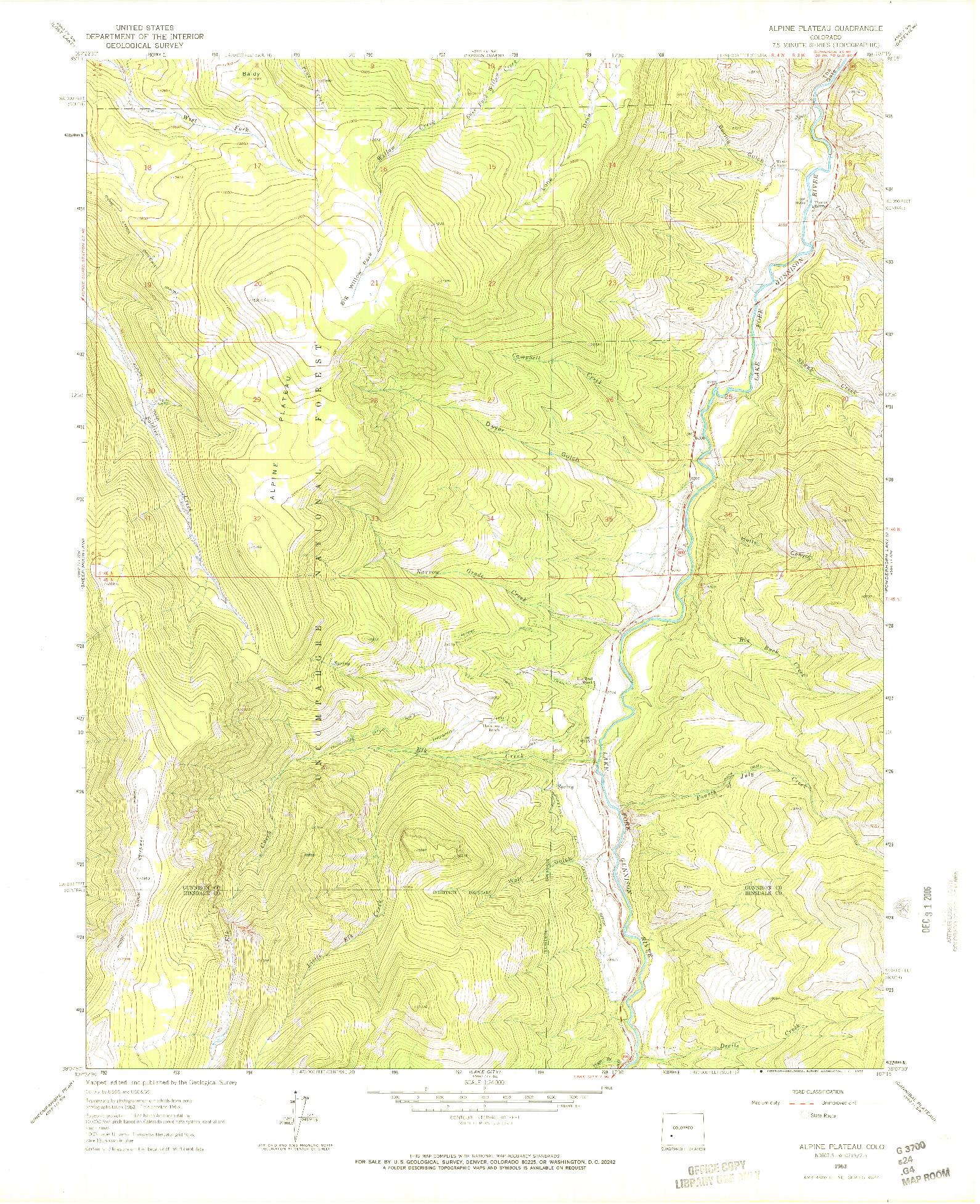 USGS 1:24000-SCALE QUADRANGLE FOR ALPINE PLATEAU, CO 1963
