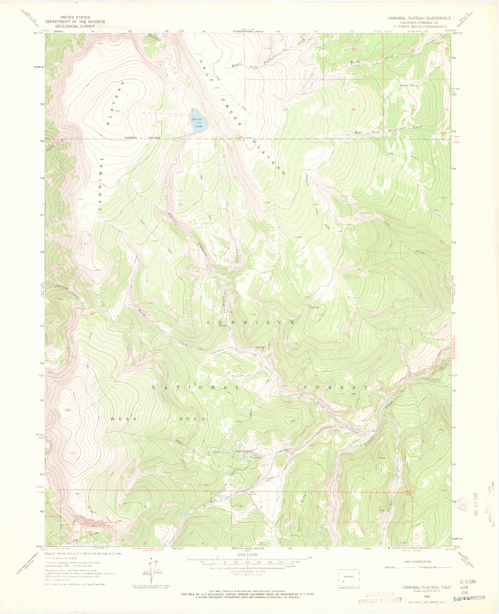 USGS 1:24000-SCALE QUADRANGLE FOR CANNIBAL PLATEAU, CO 1963
