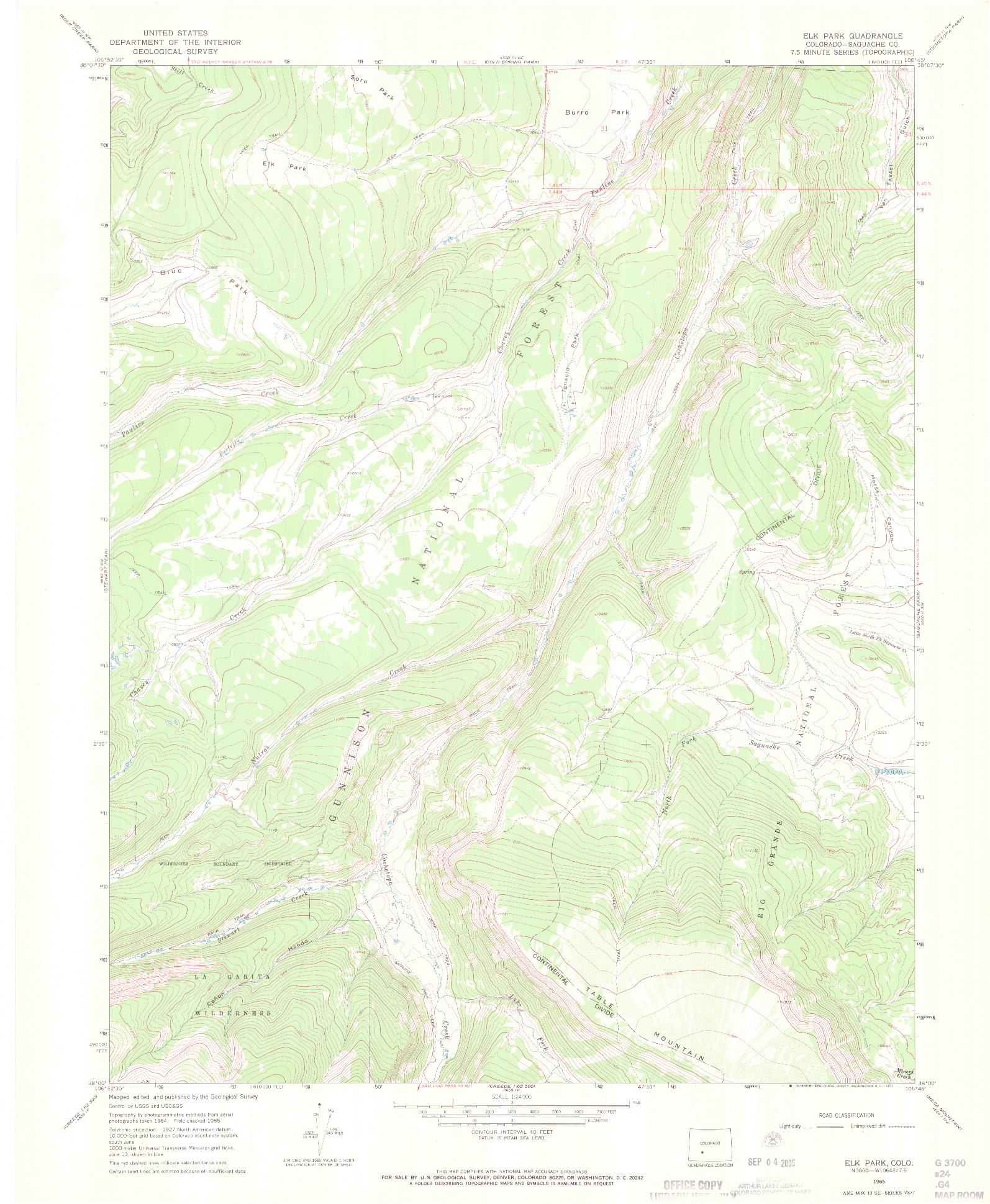 USGS 1:24000-SCALE QUADRANGLE FOR ELK PARK, CO 1965