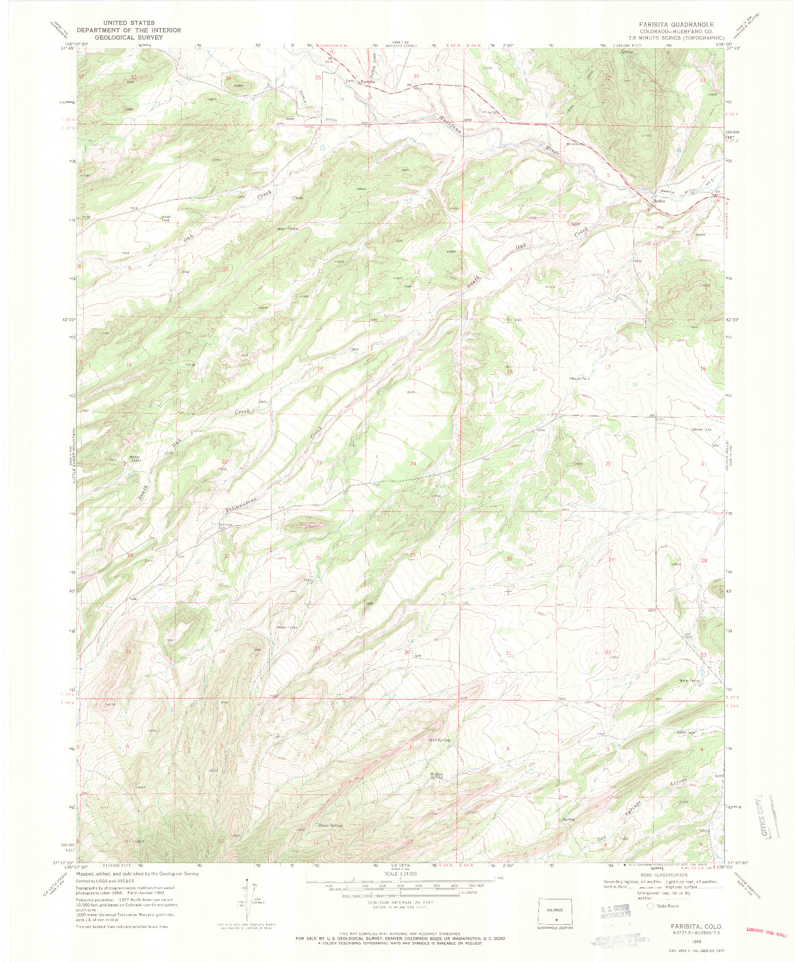 USGS 1:24000-SCALE QUADRANGLE FOR FARISITA, CO 1969