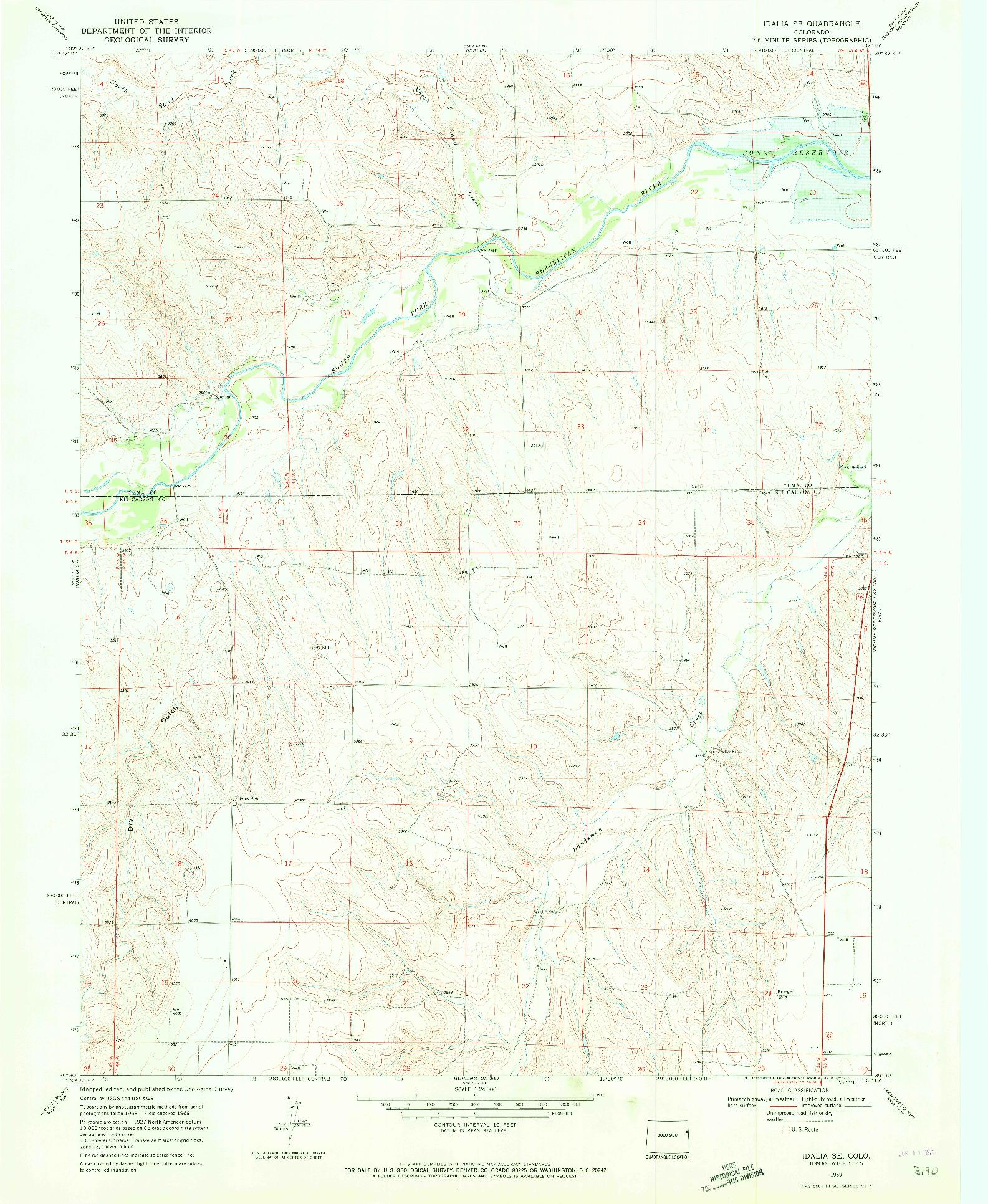 USGS 1:24000-SCALE QUADRANGLE FOR IDALIA SE, CO 1969