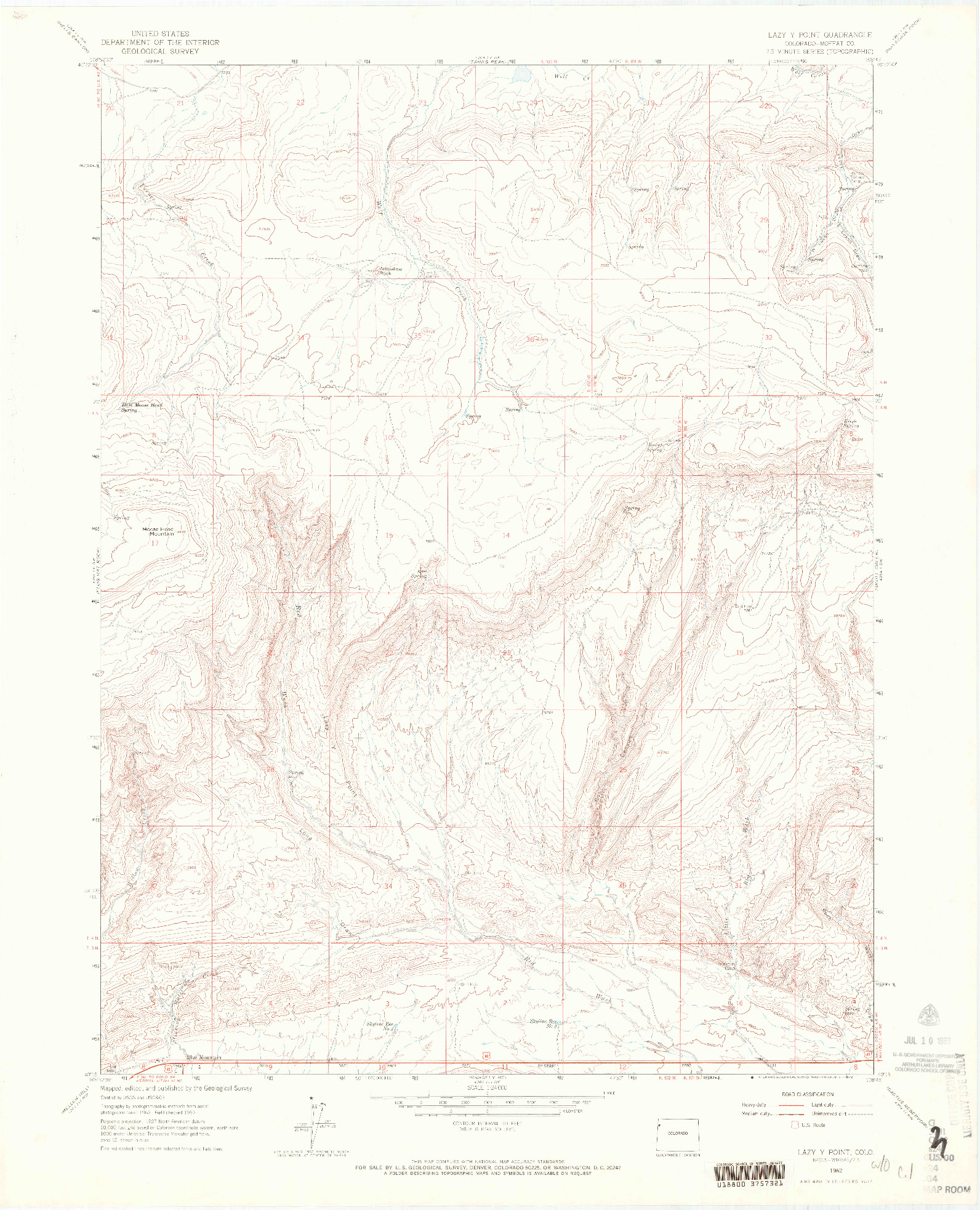 USGS 1:24000-SCALE QUADRANGLE FOR LAZY Y POINT, CO 1962